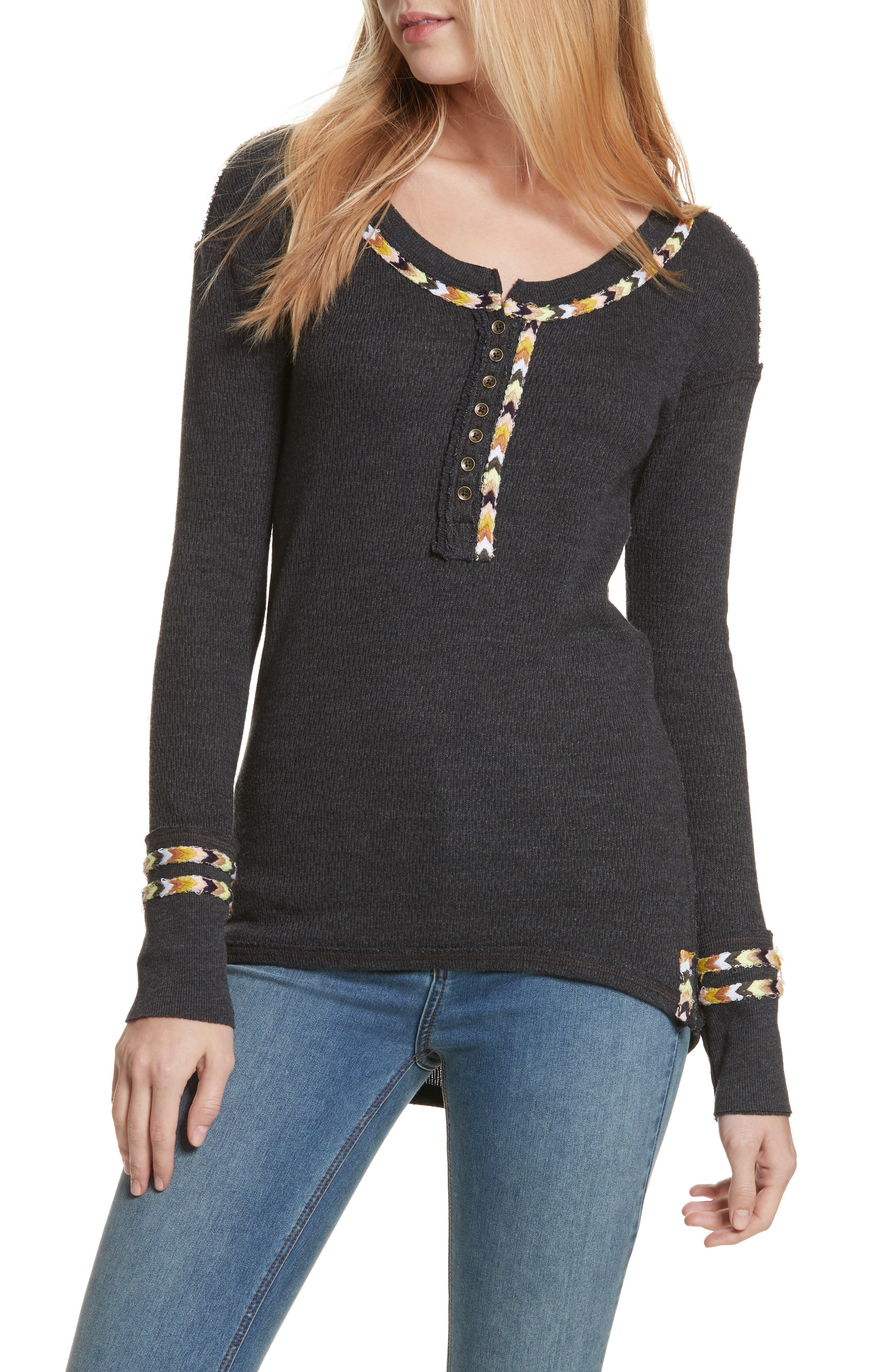 FREE PEOPLE Rainbow Thermal Tee, Main, color, 001