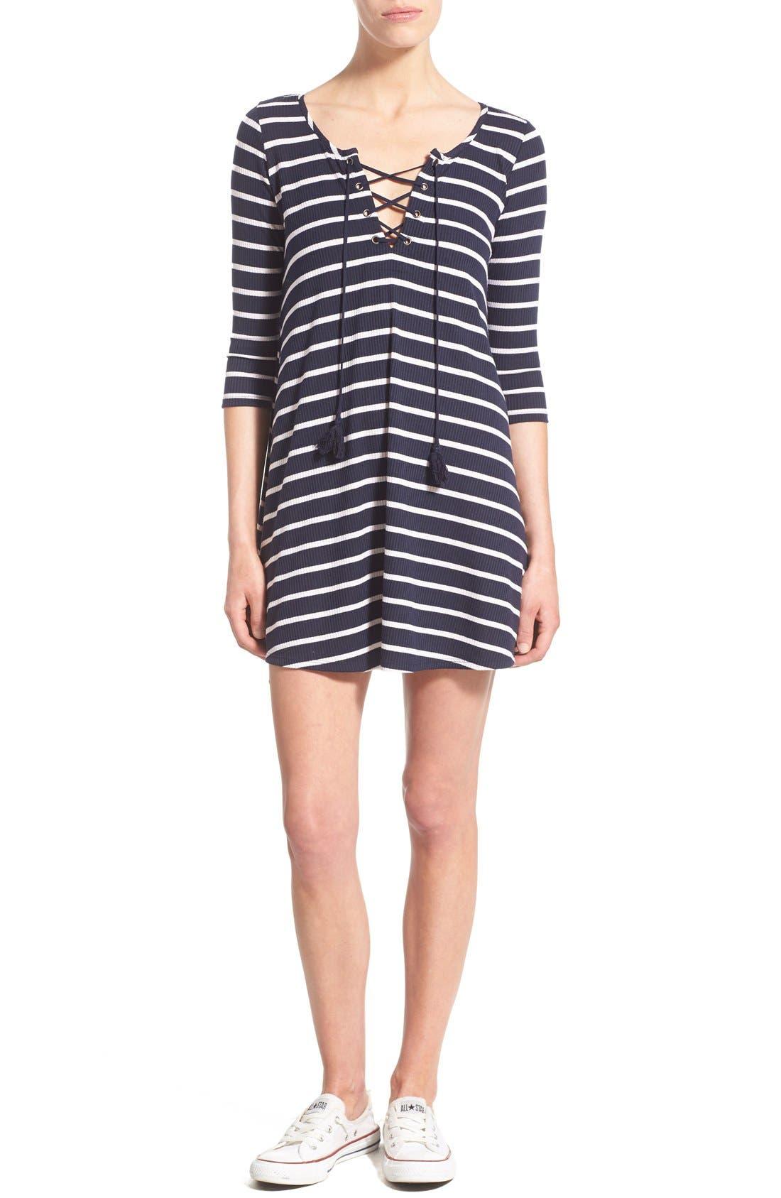 SOCIALITE, Stripe Lace-Up Minidress, Main thumbnail 1, color, 466