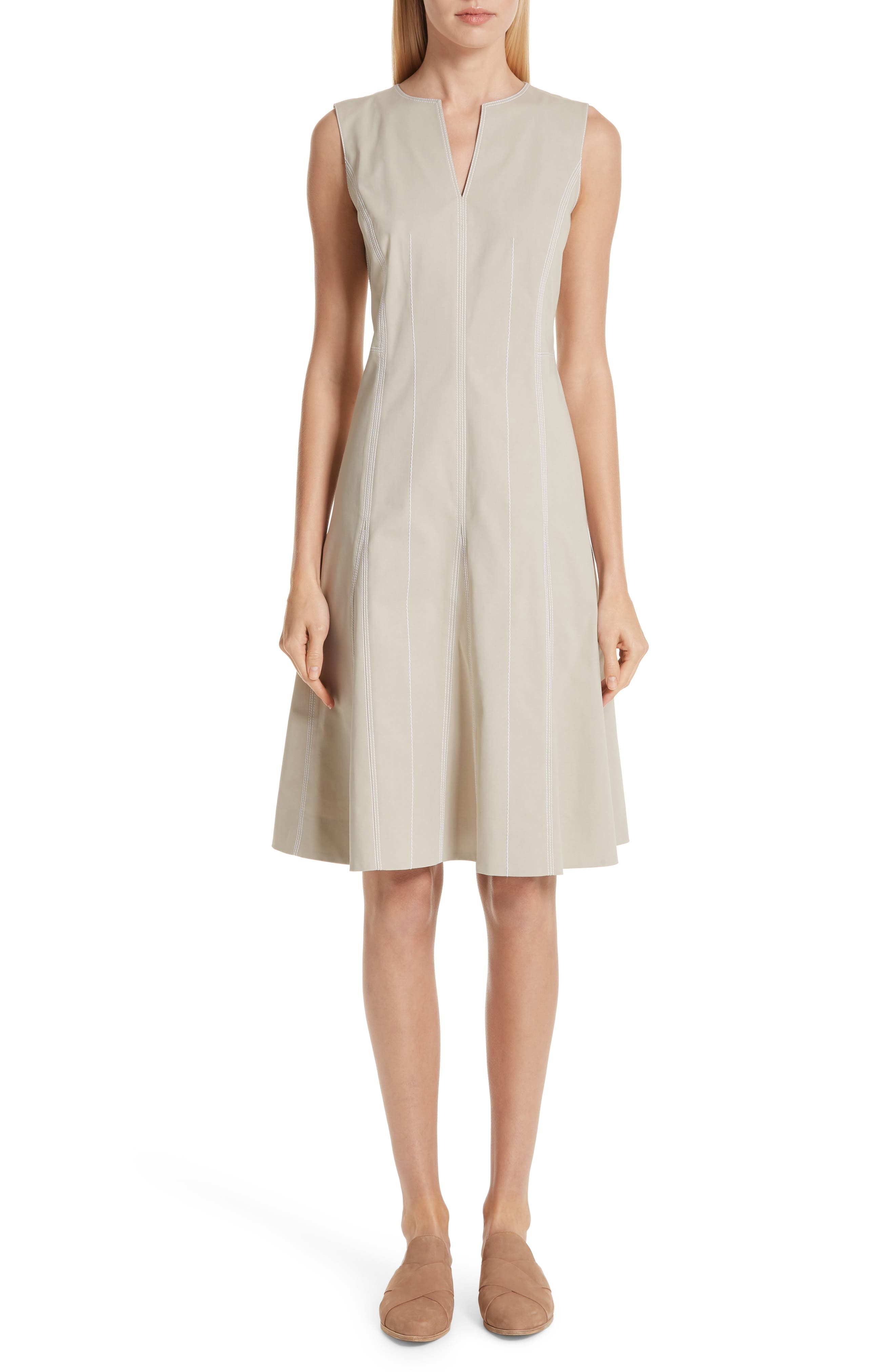 Lafayette 148 New York Rochelle Fit & Flare Dress, Beige