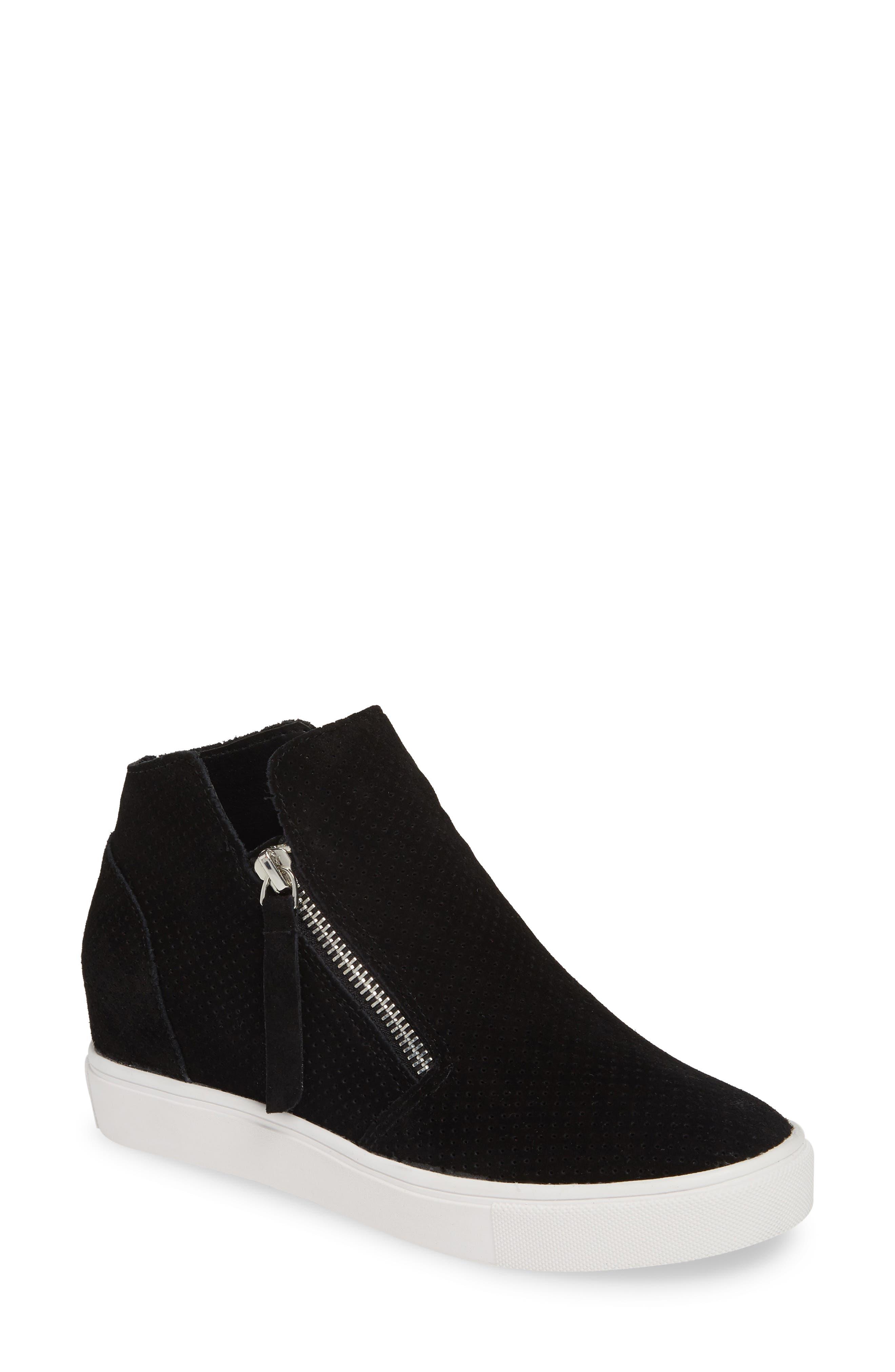 STEVE MADDEN, Caliber High Top Sneaker, Main thumbnail 1, color, BLACK SUEDE