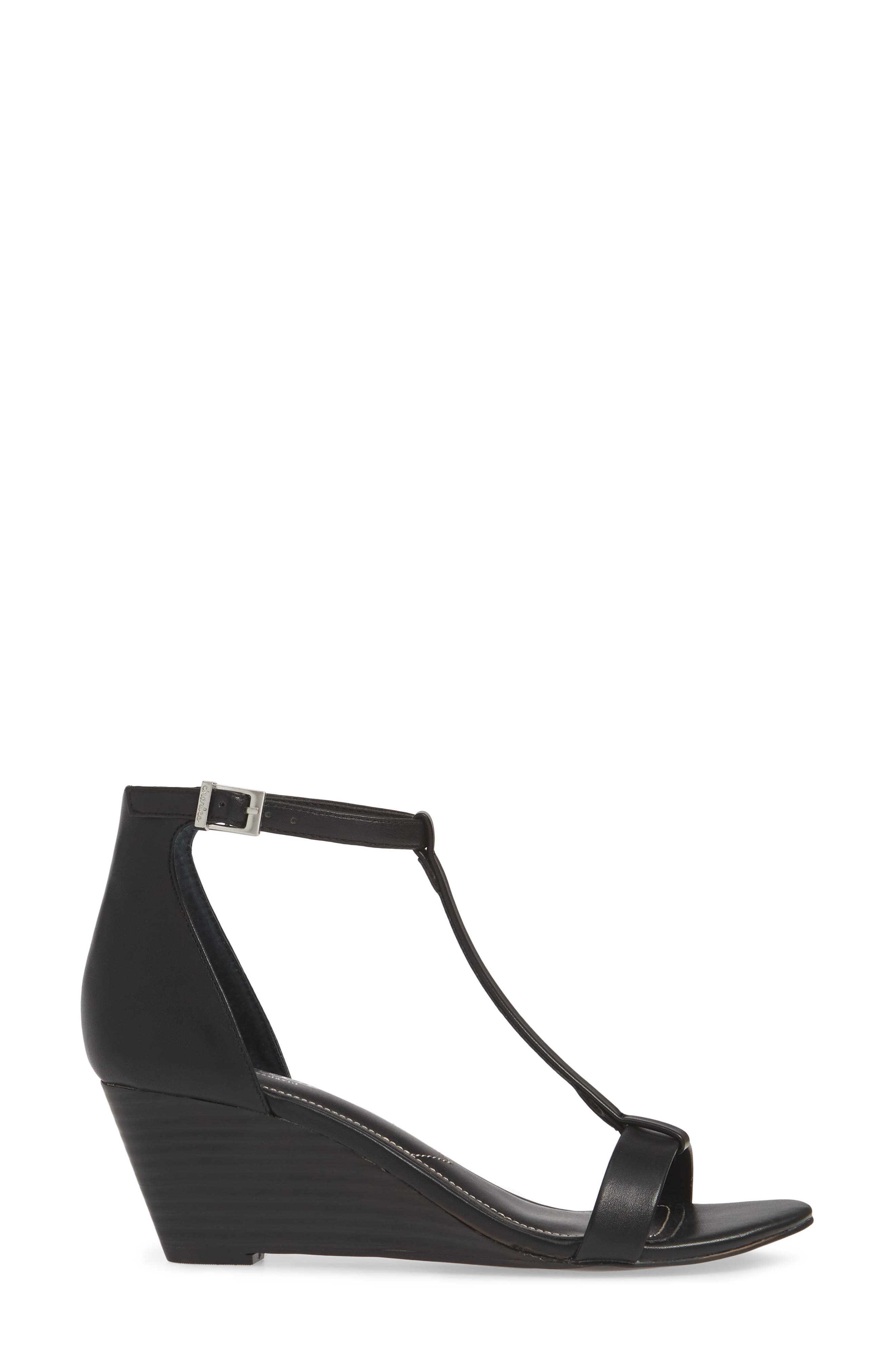 CHARLES BY CHARLES DAVID, Georgette Wedge Sandal, Alternate thumbnail 3, color, BLACK FAUX LEATHER