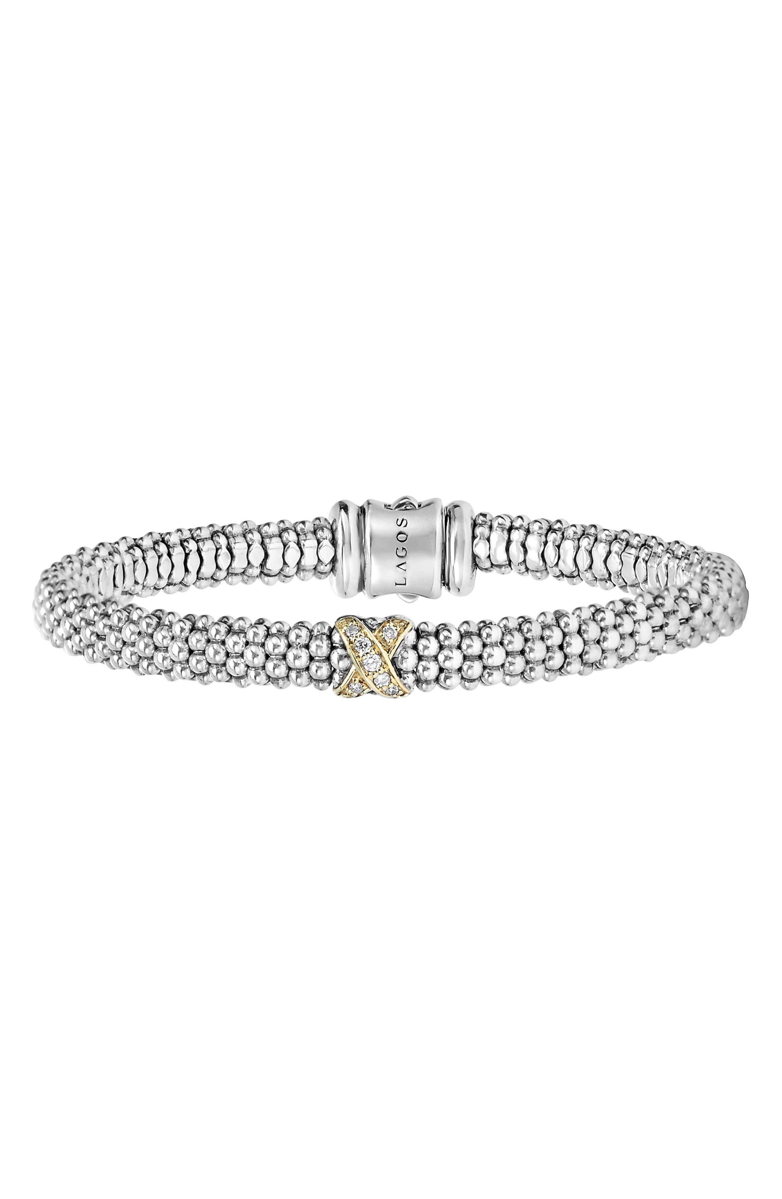 LAGOS, Caviar 'Signature Caviar' Diamond Rope Bracelet, Alternate thumbnail 7, color, STERLING SILVER/ GOLD
