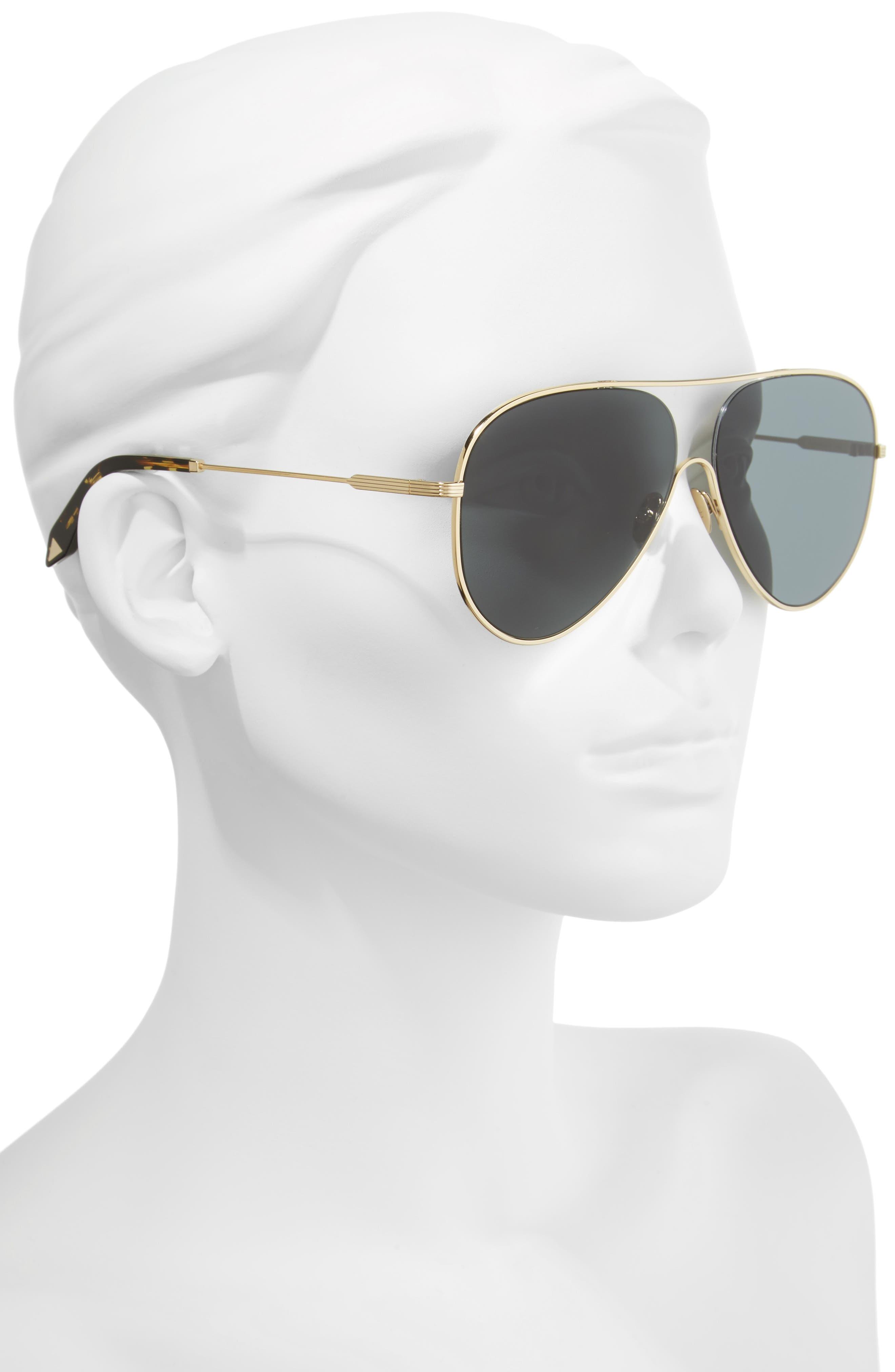 VICTORIA BECKHAM, Loop 62mm Oversize Aviator Sunglasses, Alternate thumbnail 2, color, 020