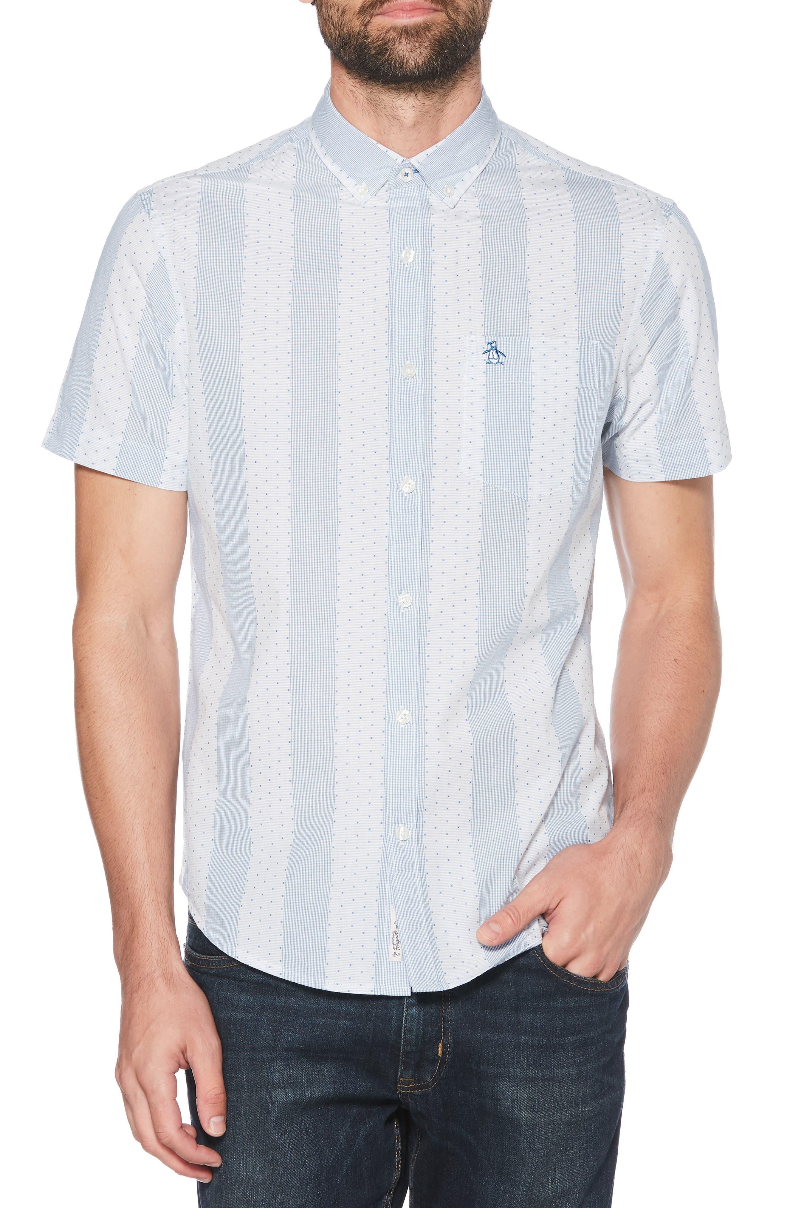 ORIGINAL PENGUIN, Square Dobby Stripe Shirt, Main thumbnail 1, color, BRIGHT WHITE