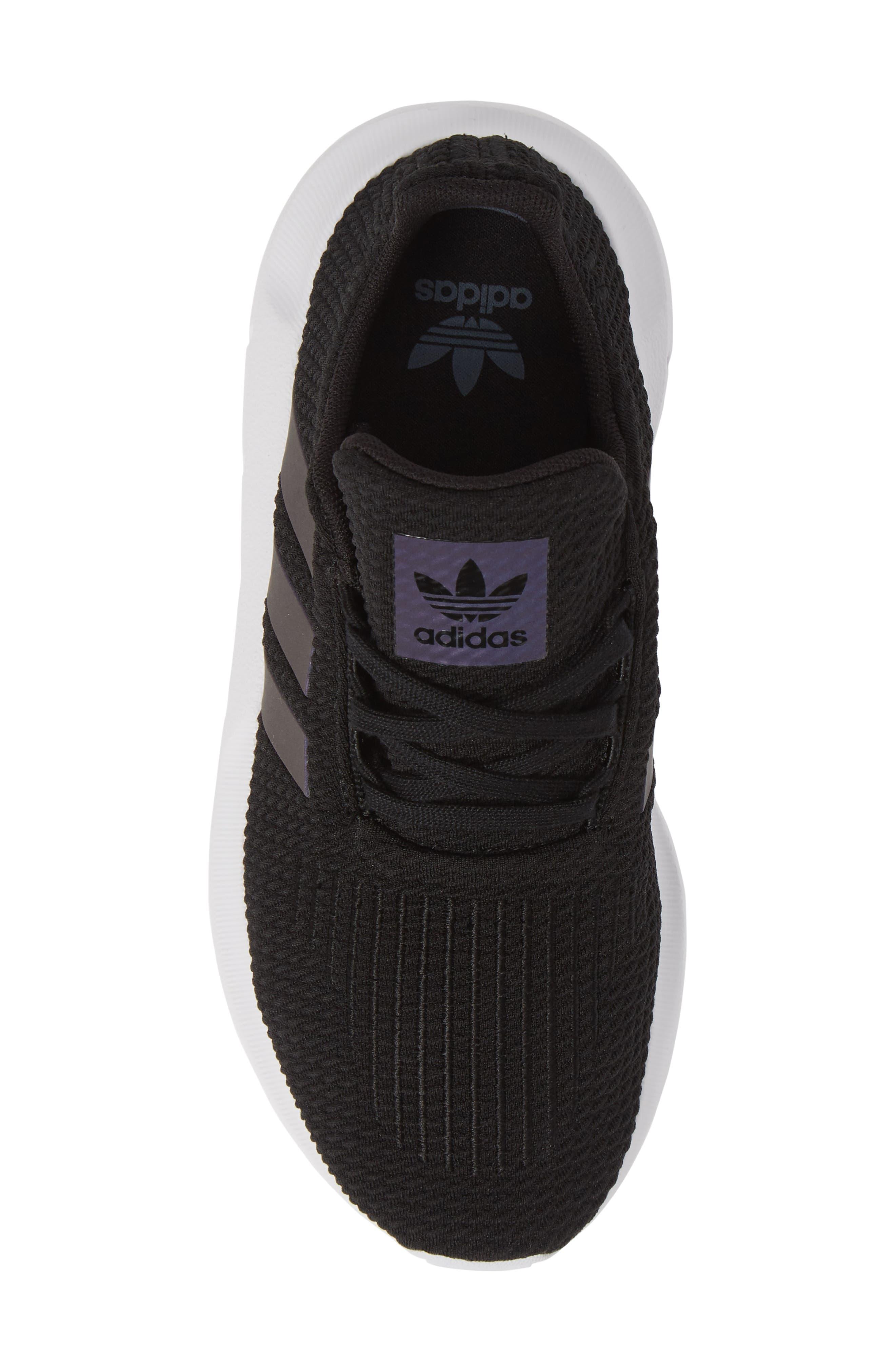 ADIDAS, Swift Run J Sneaker, Alternate thumbnail 5, color, CORE BLACK/ WHITE