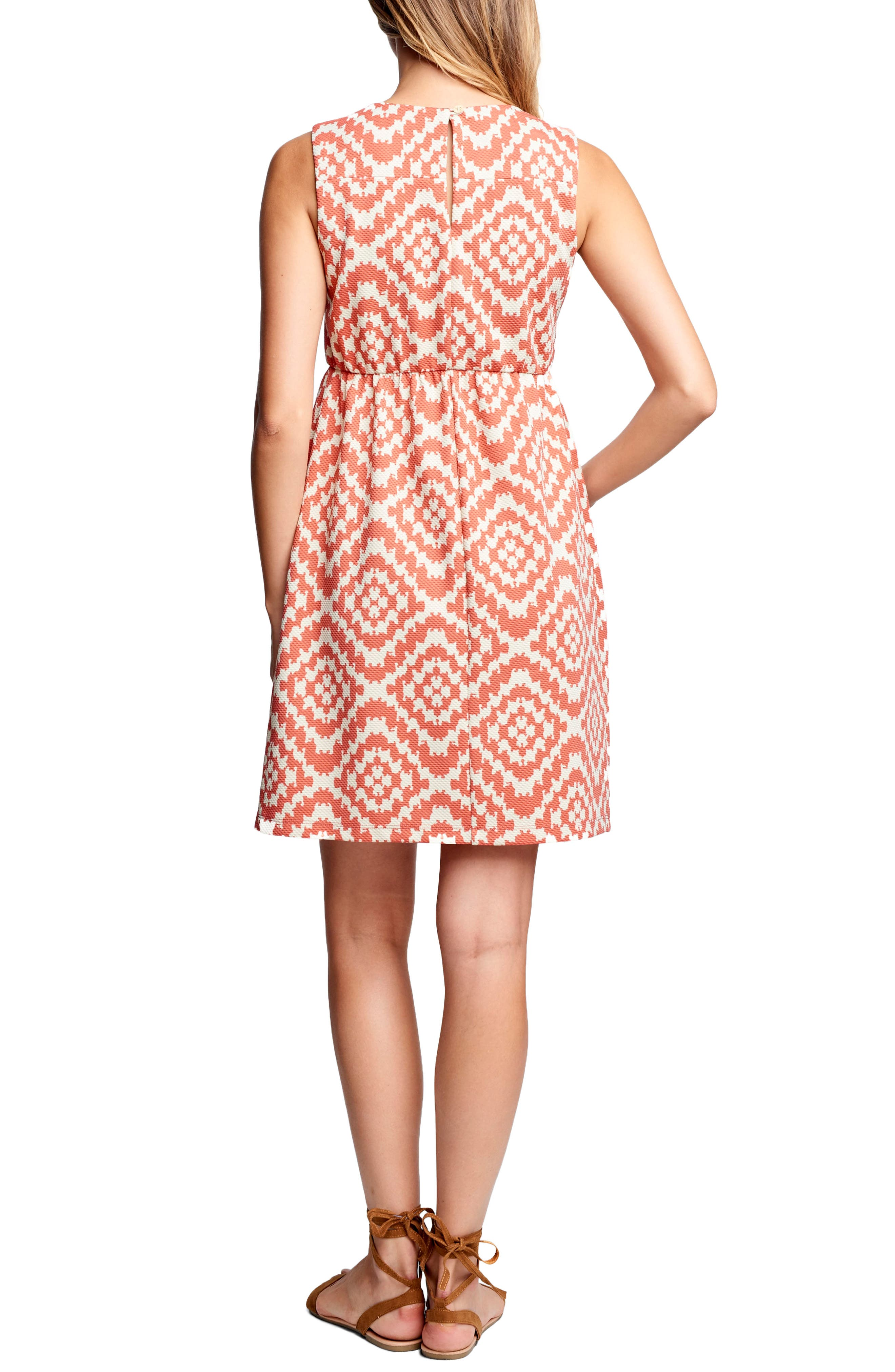 MATERNAL AMERICA, 'Vintage' Textured Maternity Dress, Alternate thumbnail 2, color, APRICOT TAPESTRY