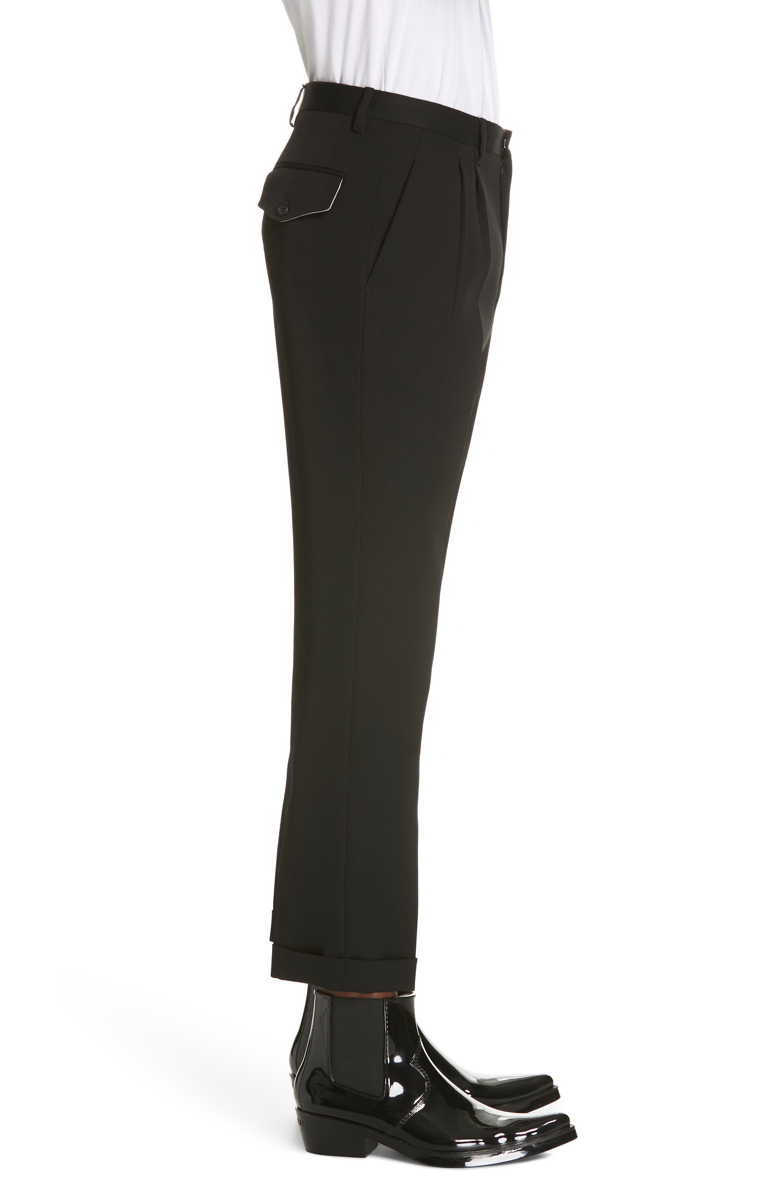 CALVIN KLEIN 205W39NYC, Pleated Gabardine Wool Trousers, Alternate thumbnail 3, color, BLACK