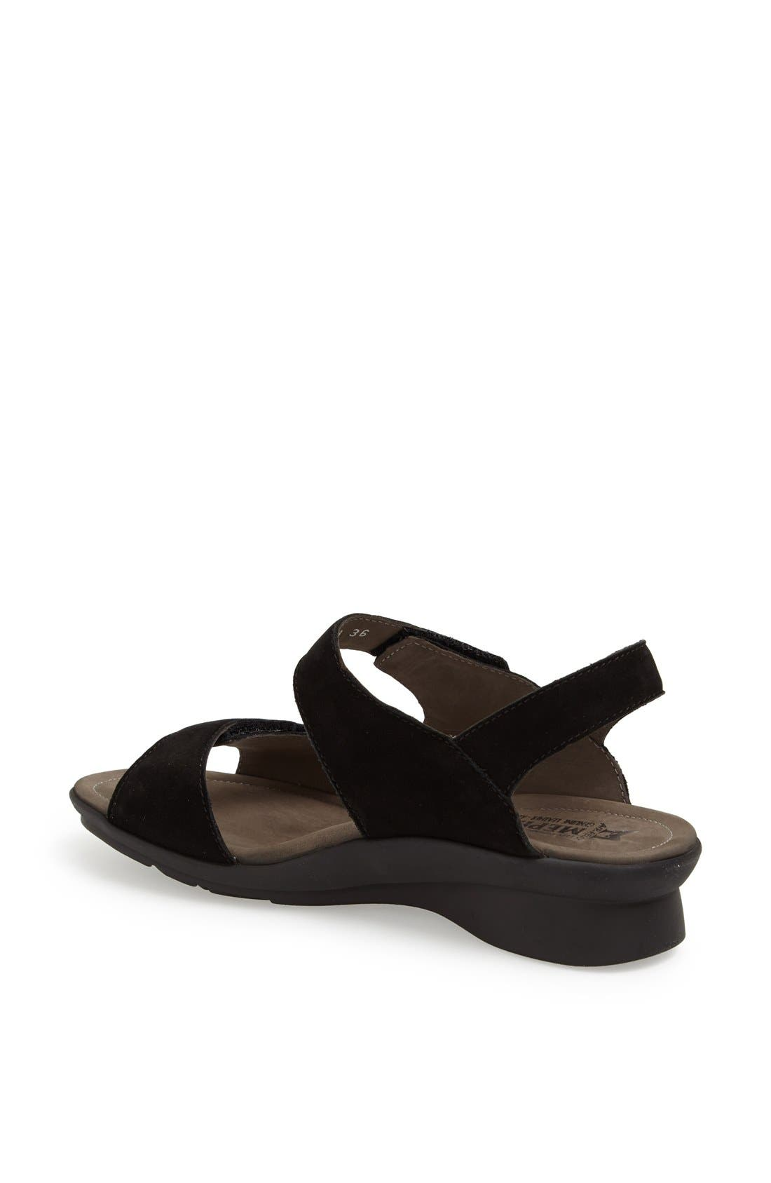 MEPHISTO, 'Prudy' Leather Sandal, Alternate thumbnail 2, color, BLACK NUBUCK LEATHER
