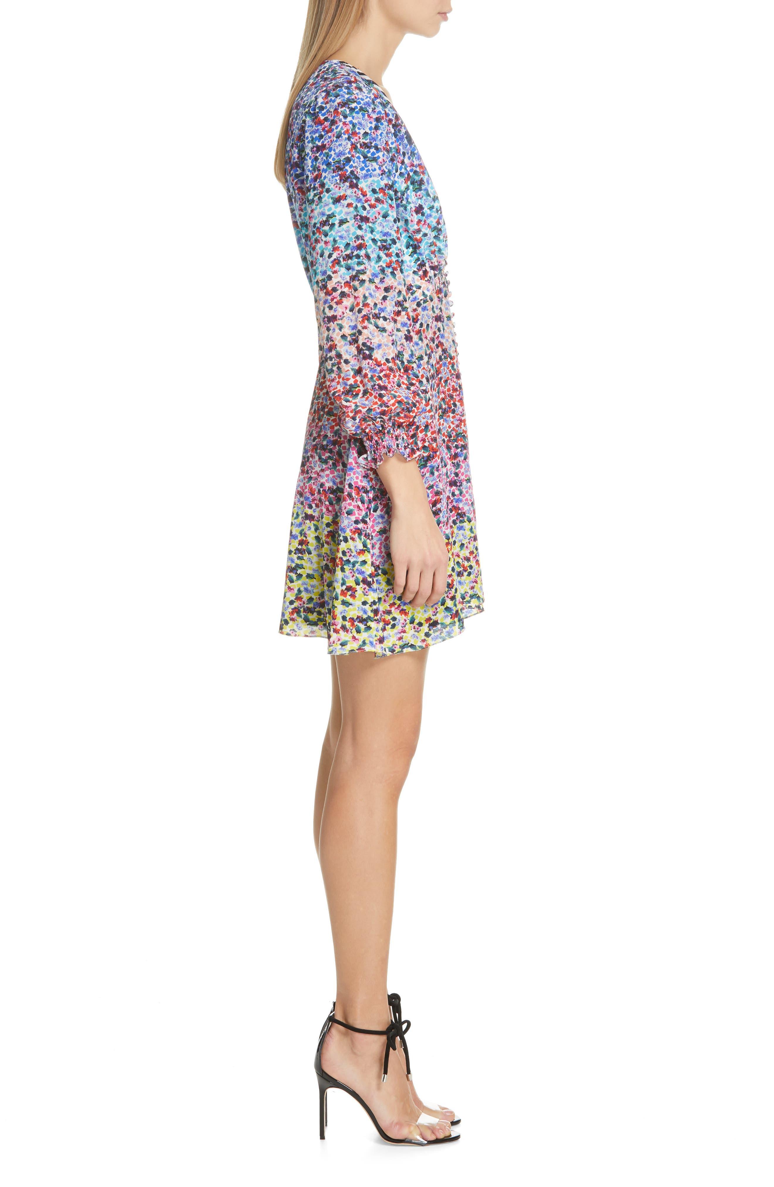 SALONI, Eve Floral Print Dress, Alternate thumbnail 4, color, RAINBOW GARDENIA PLMT