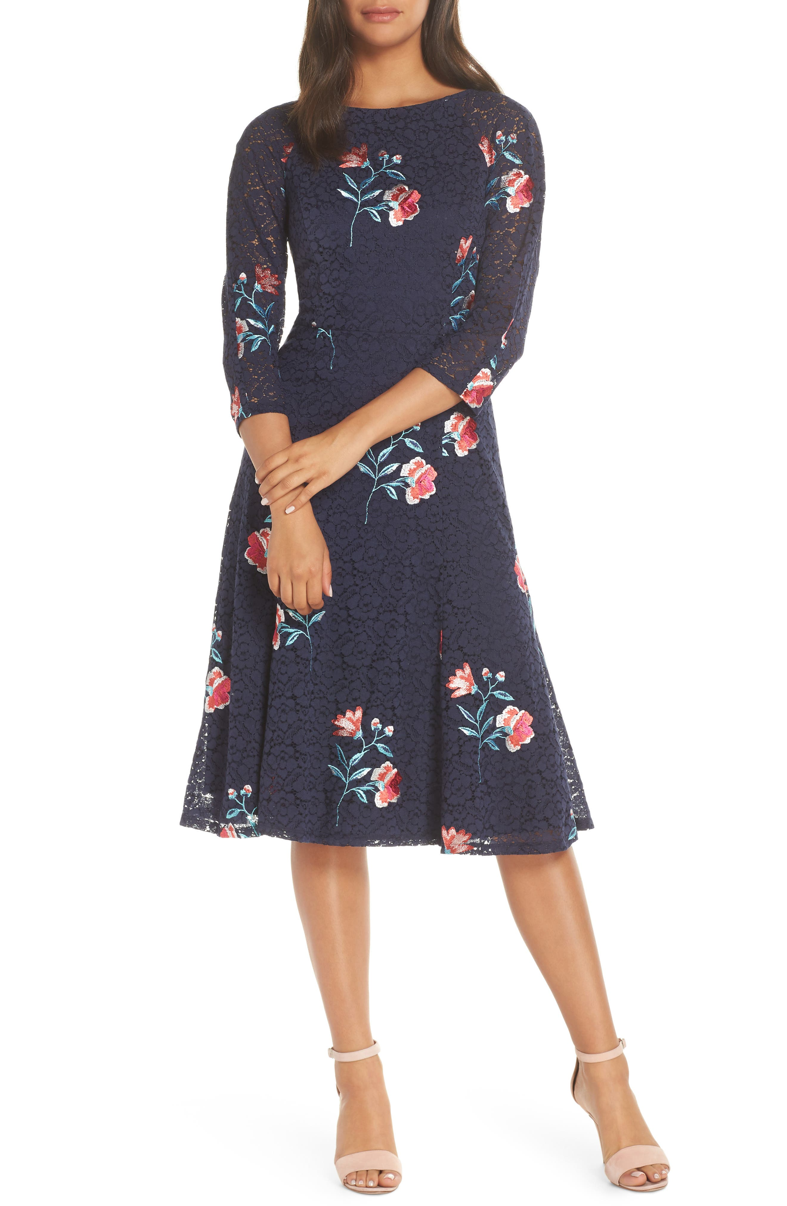 ELIZA J, Embroidery & Lace A-Line Dress, Main thumbnail 1, color, NAVY