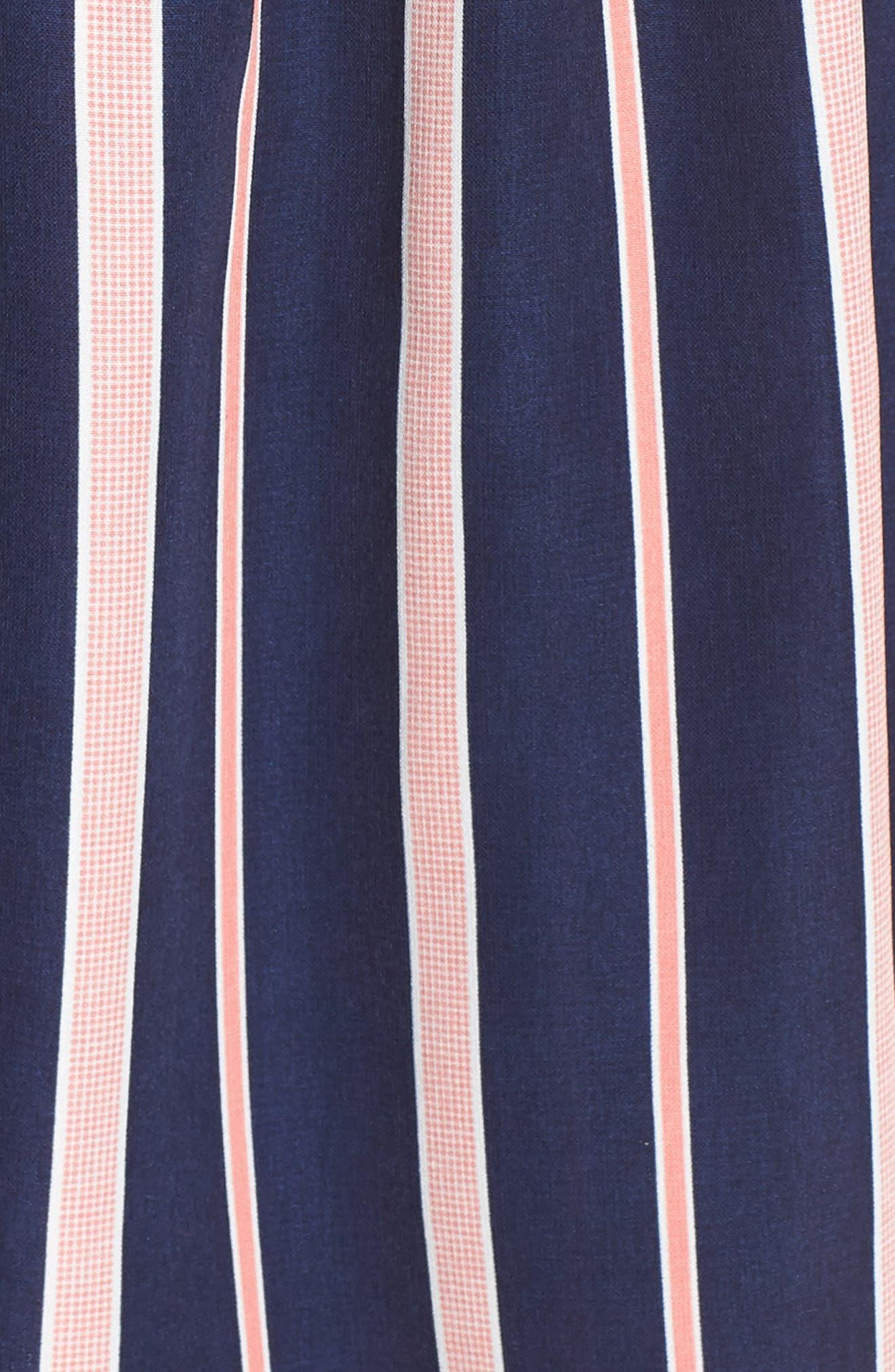 CHARLES HENRY, Smocked Stripe Dress, Alternate thumbnail 6, color, NAVY/ PINK STRIPE