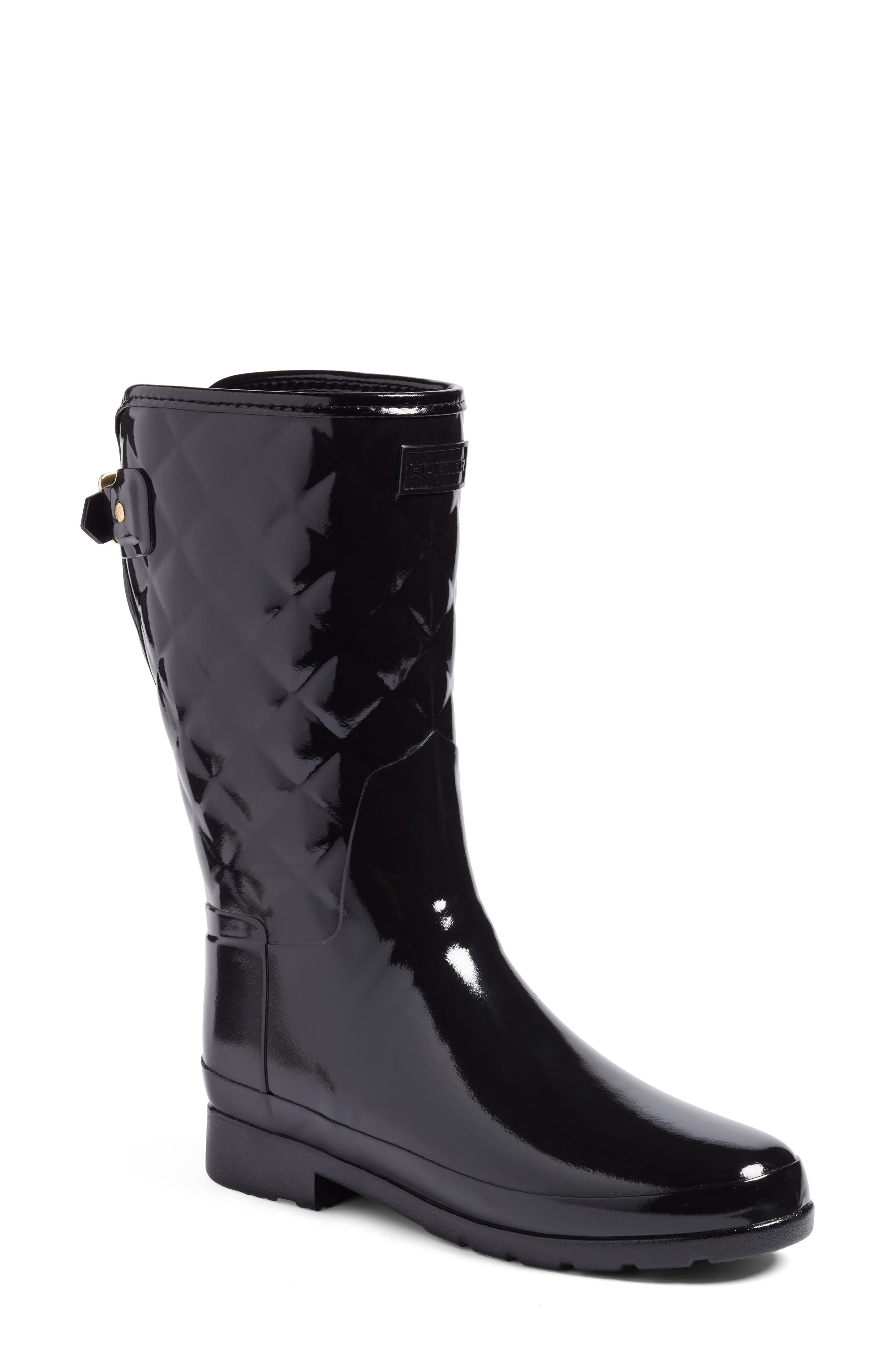 HUNTER, Refined High Gloss Quilted Short Waterproof Rain Boot, Main thumbnail 1, color, BLACK