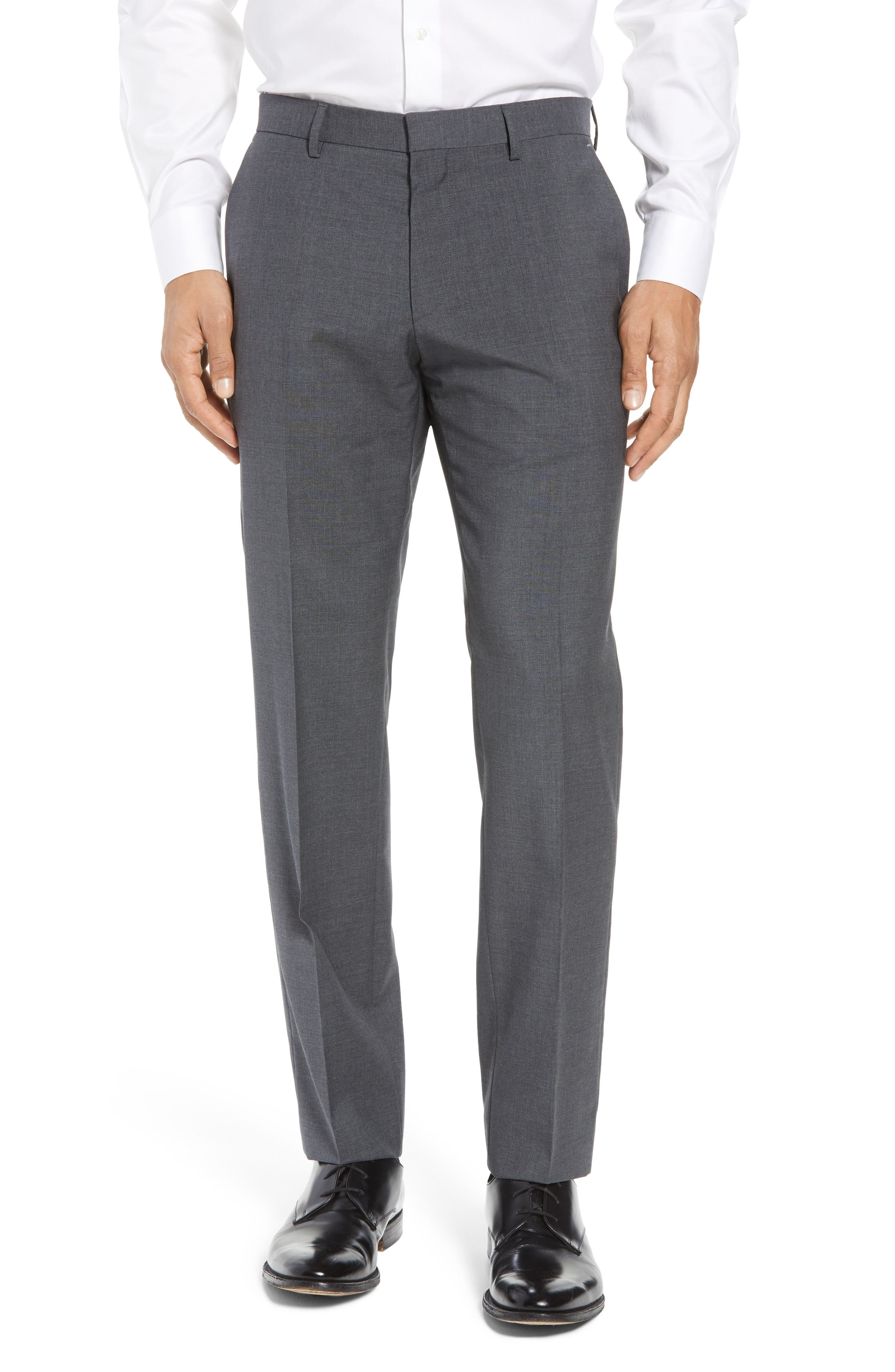 BOSS, Genesis Flat Front Solid Wool Trousers, Main thumbnail 1, color, CHARCOAL