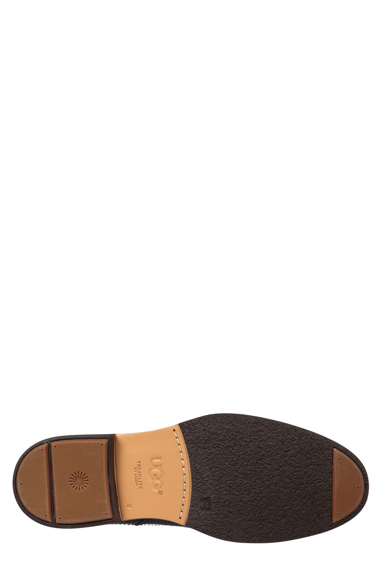 UGG<SUP>®</SUP>, Baldvin Chelsea Boot, Alternate thumbnail 5, color, BLACK LEATHER/SUEDE