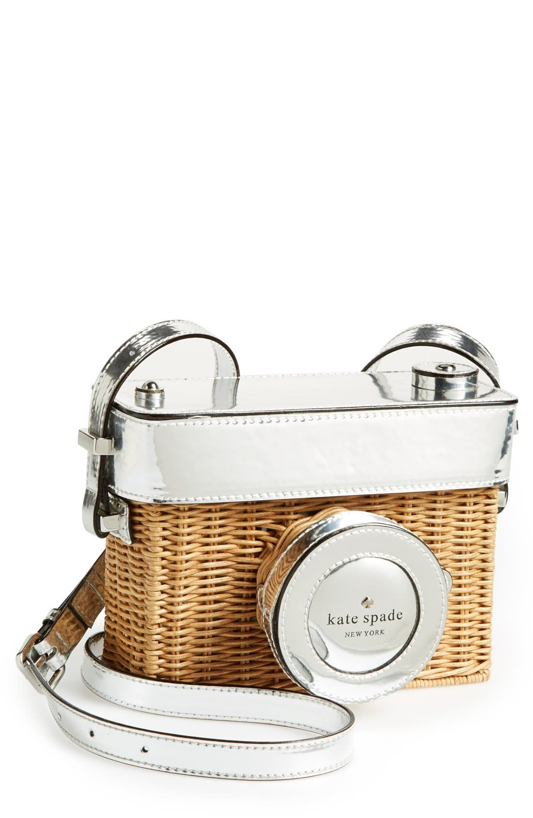 KATE SPADE NEW YORK 'grand tour' wicker camera shoulder bag, Main, color, 250