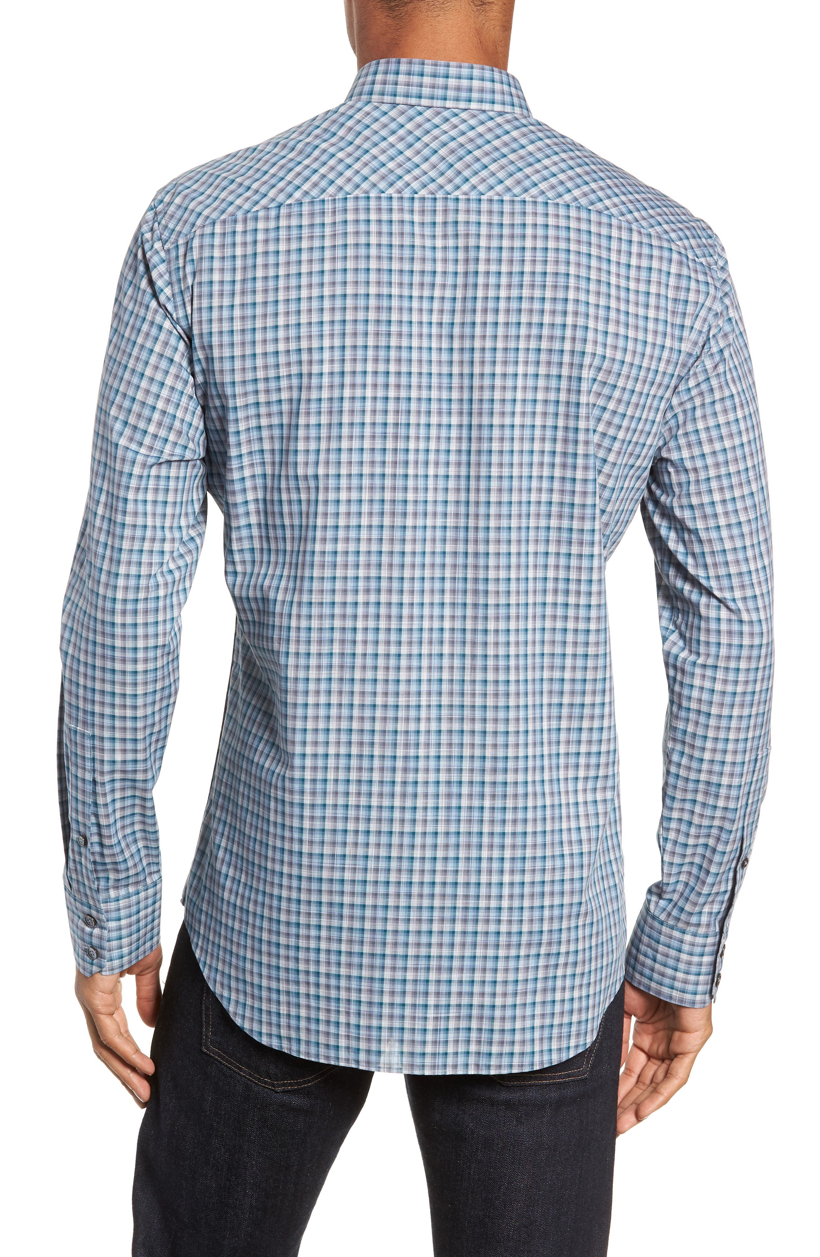 ZACHARY PRELL, Godinez Regular Fit Check Sport Shirt, Alternate thumbnail 3, color, 475