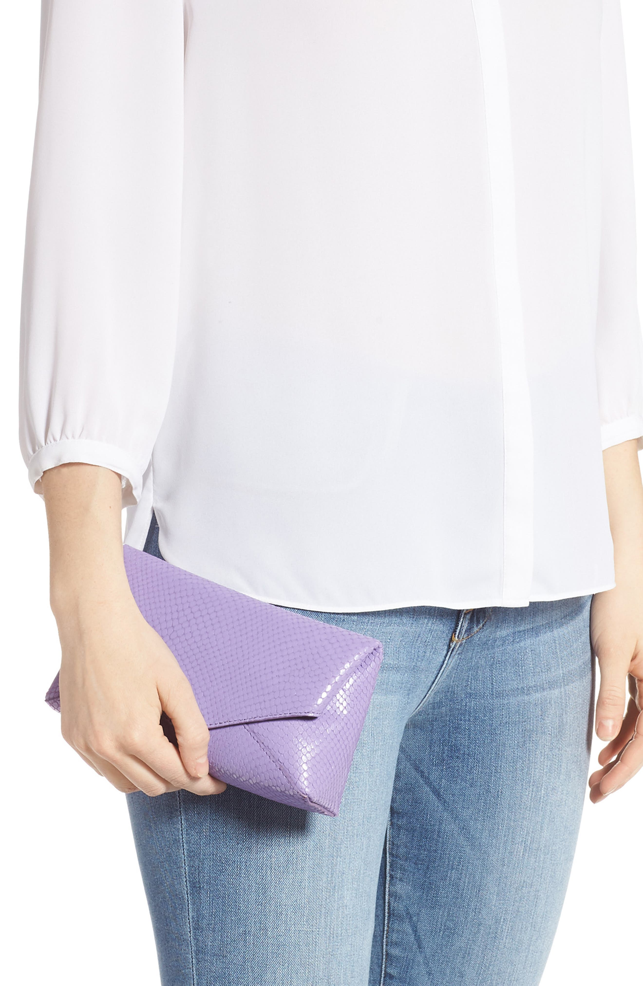 DRIES VAN NOTEN, Small Python Embossed Leather Envelope Clutch, Alternate thumbnail 2, color, LILAC