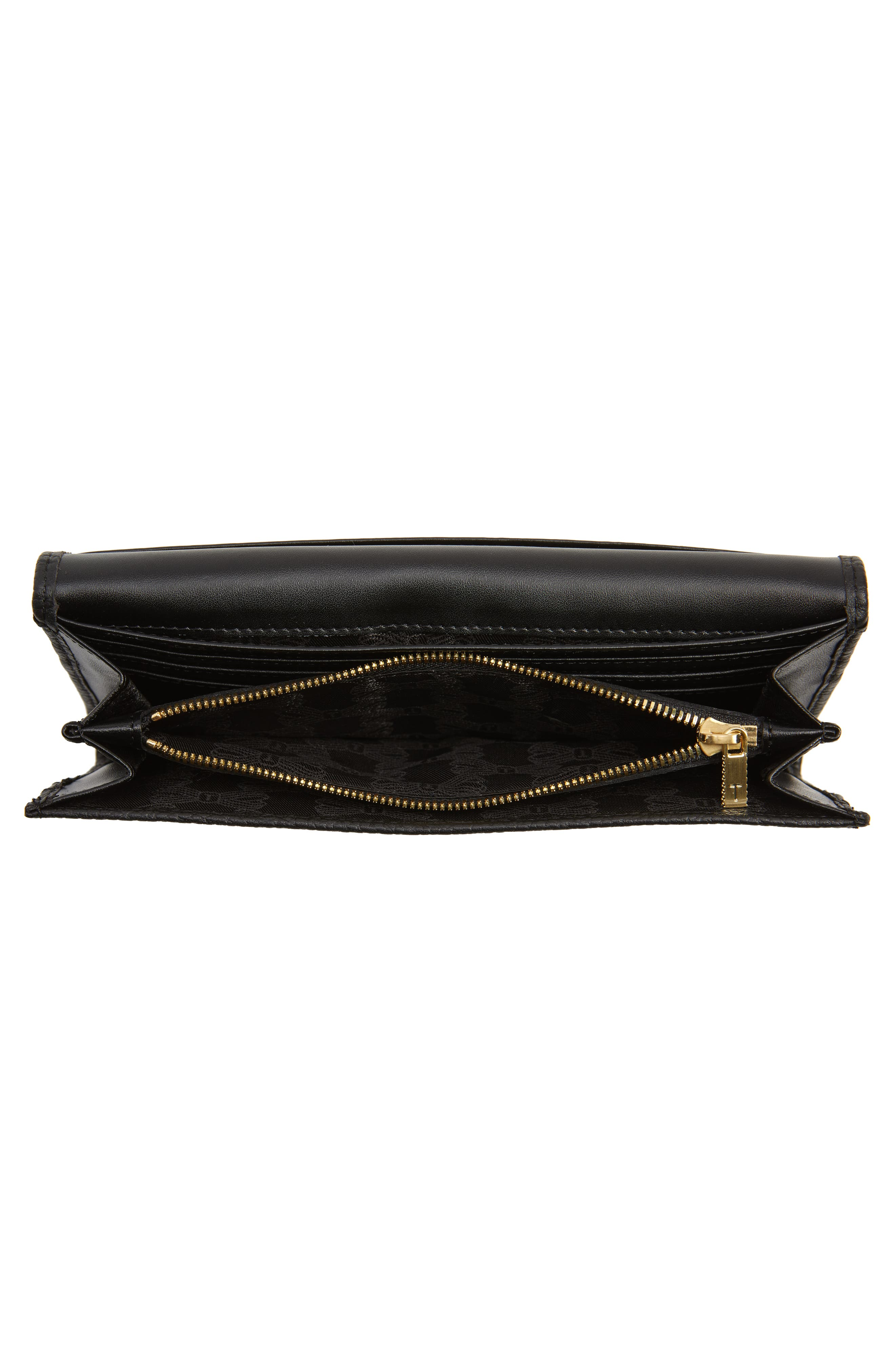 TED BAKER LONDON, Bevv Bow Leather Matinée Wallet, Alternate thumbnail 4, color, BLACK