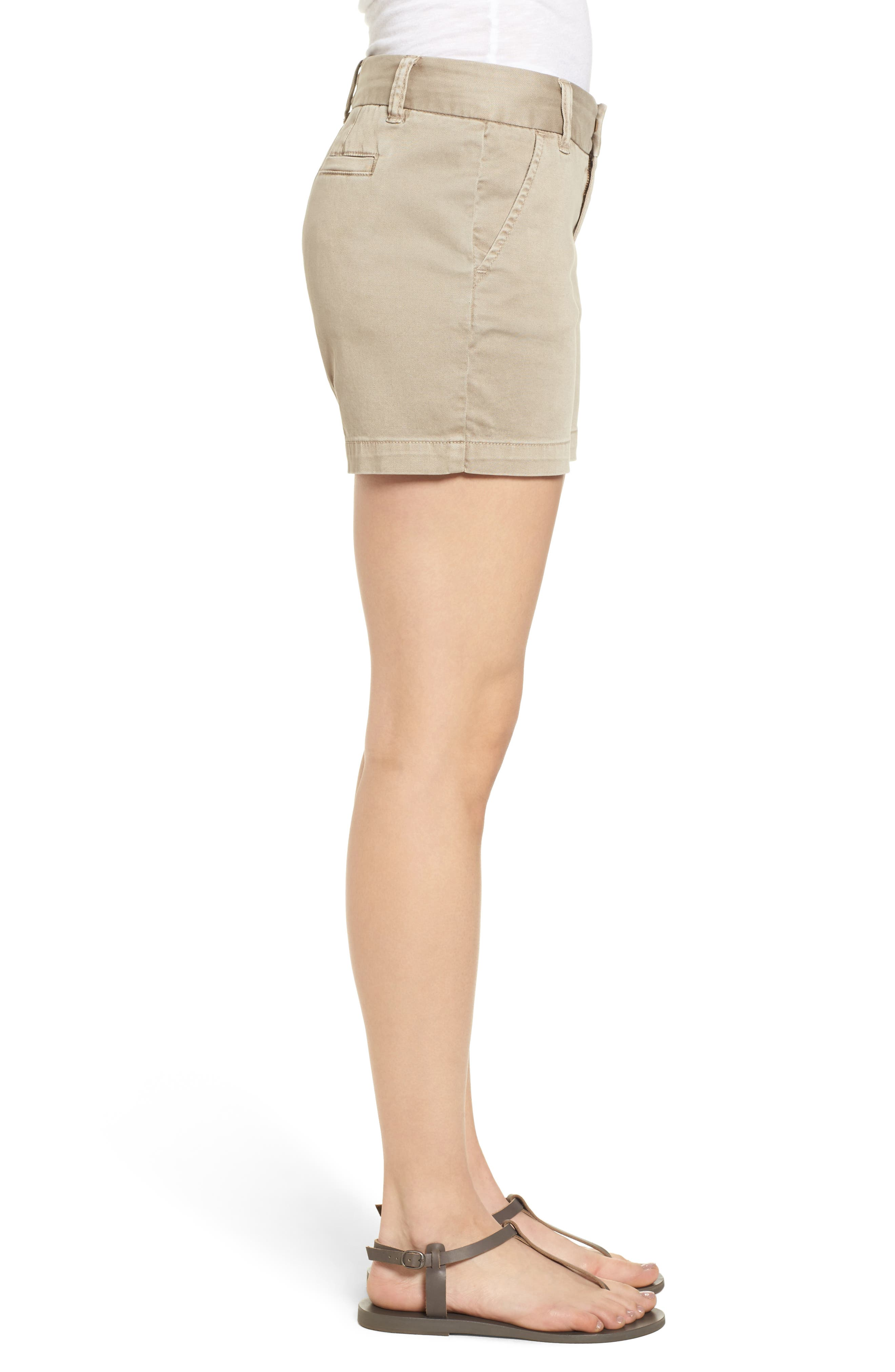 CASLON<SUP>®</SUP>, Cotton Twill Shorts, Alternate thumbnail 4, color, TAN COBBLESTONE