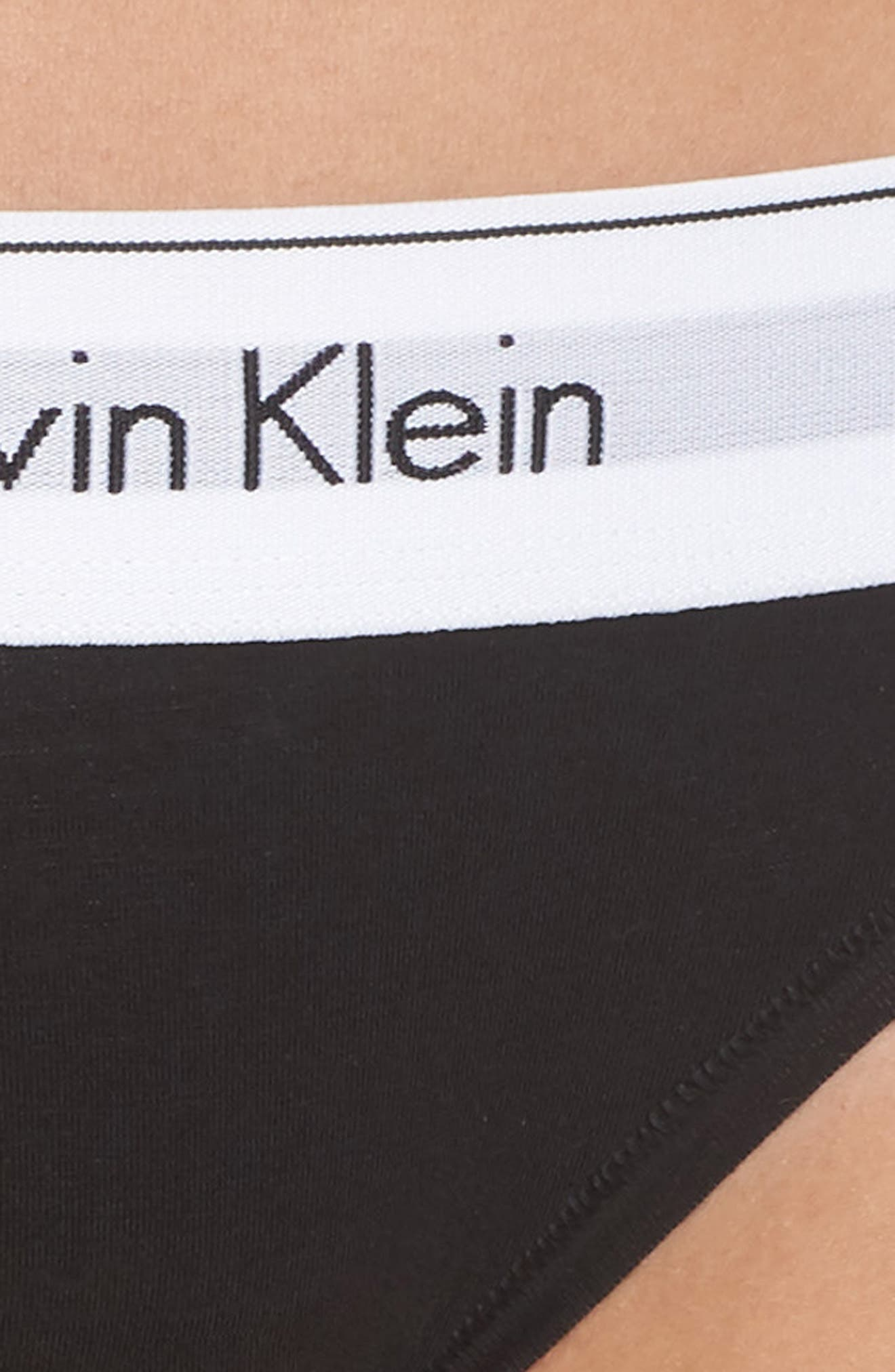 CALVIN KLEIN, 'Modern Cotton Collection' Cotton Blend Bikini, Alternate thumbnail 5, color, BLACK