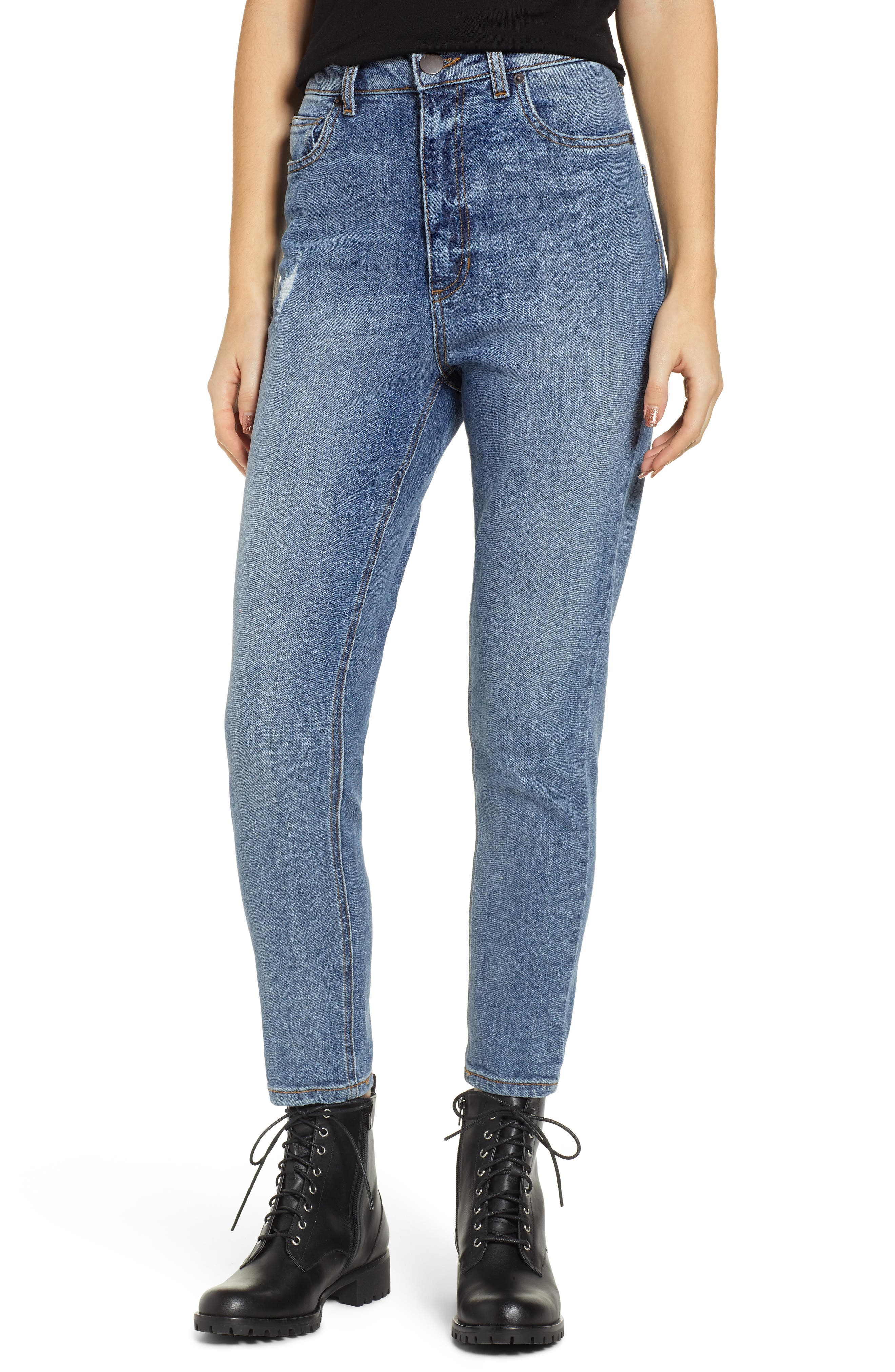 STS BLUE, Sophia High Waist Mom Jeans, Main thumbnail 1, color, CONEFLOWER MED WASH