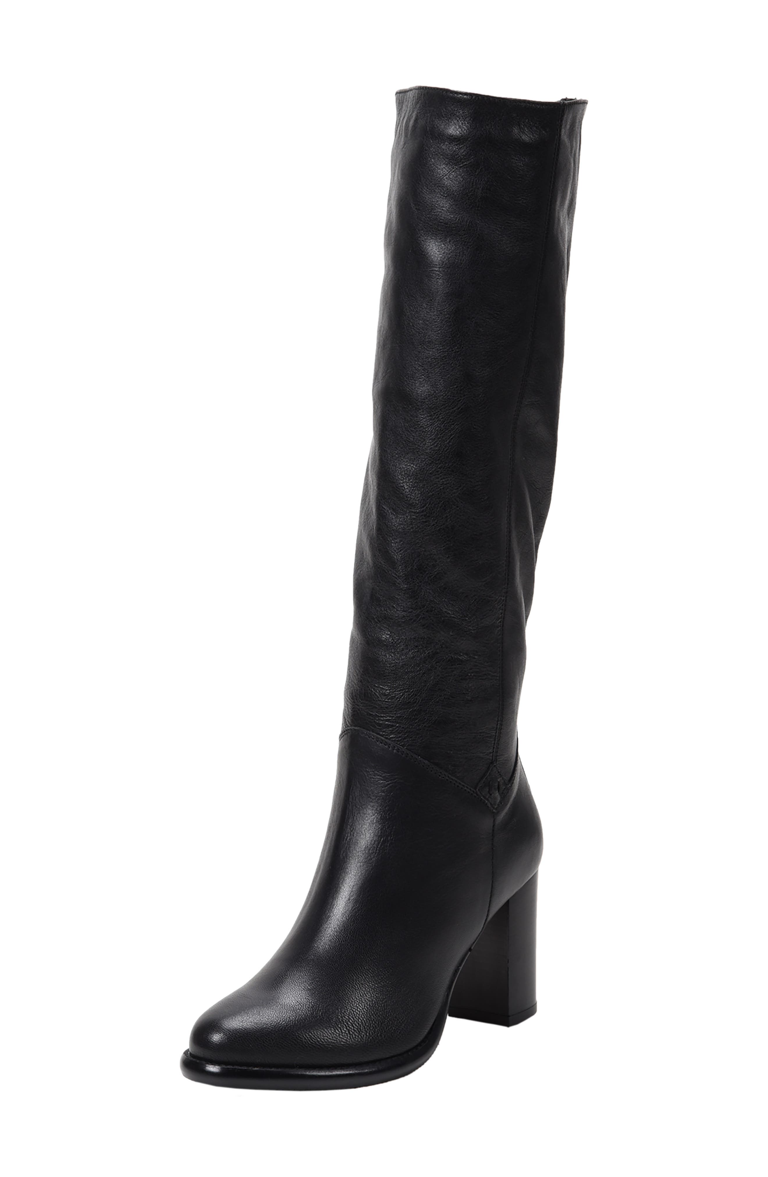 ROSS & SNOW Michela SP Waterproof Genuine Shearling Lined Boot, Main, color, BLACK METALLIC LEATHER