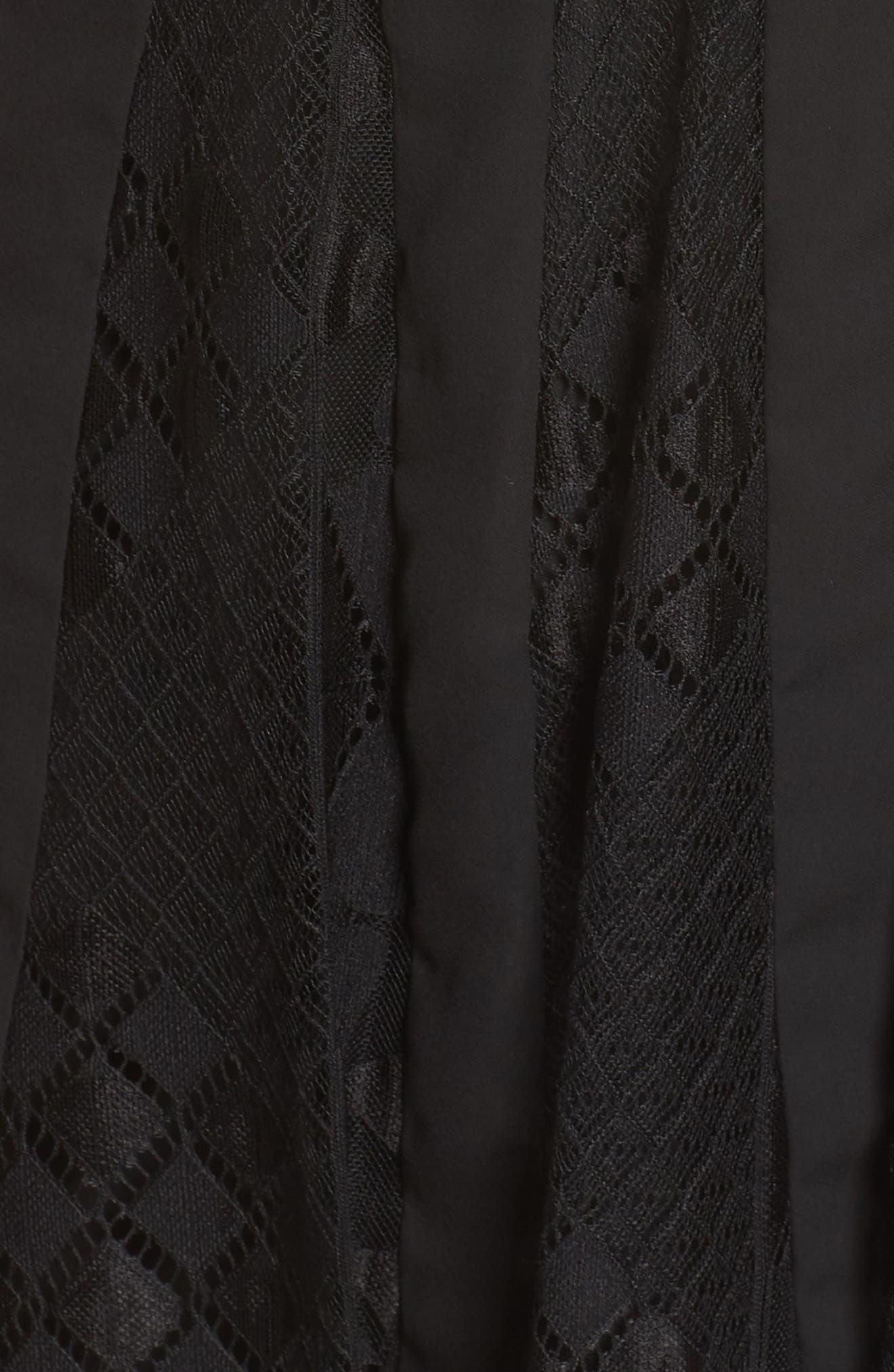 FOXIEDOX, Calla Geometric Lace Dress, Alternate thumbnail 6, color, 001
