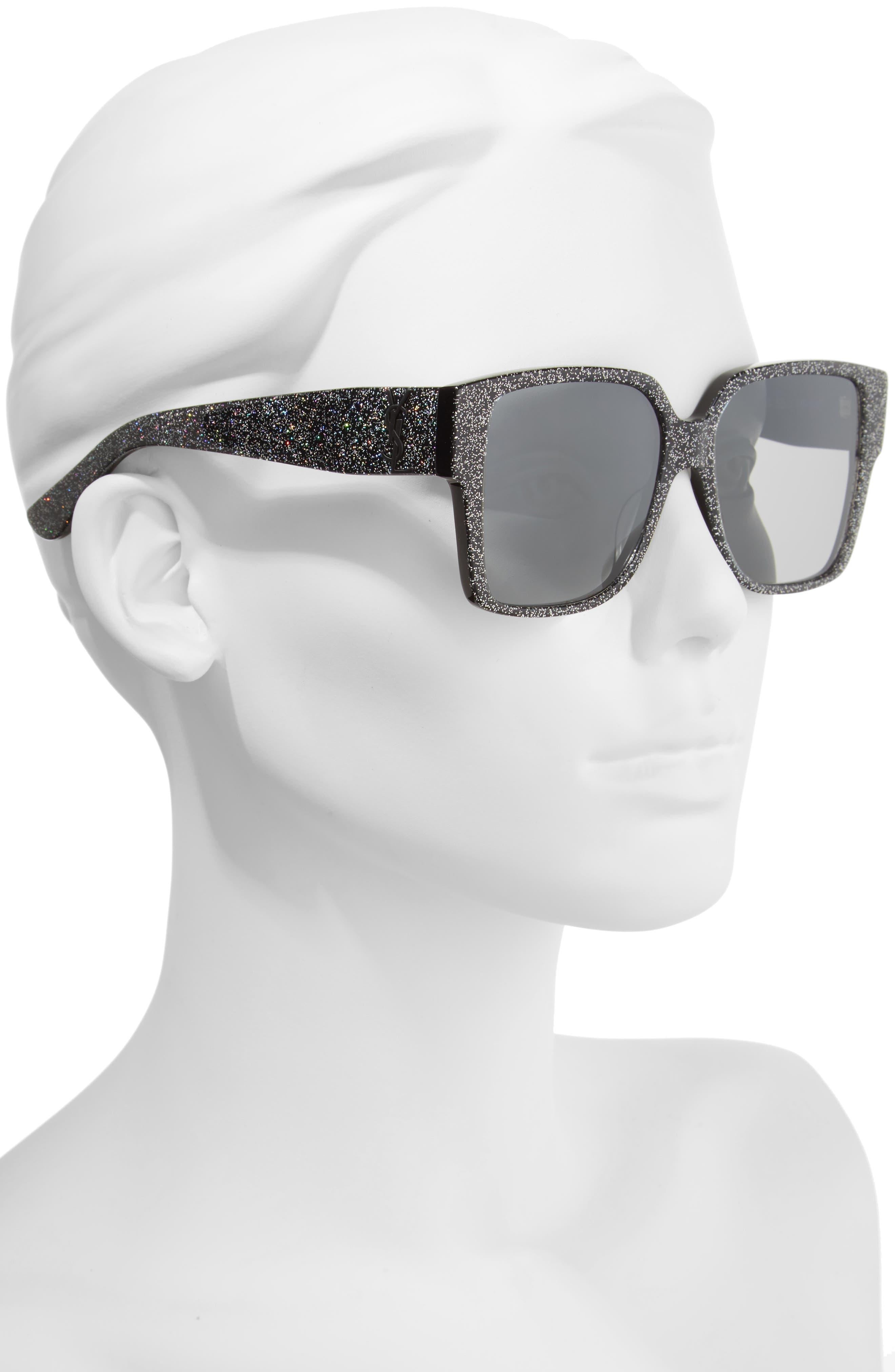 SAINT LAURENT, 55mm Square Sunglasses, Alternate thumbnail 2, color, MULTI/ SILVER