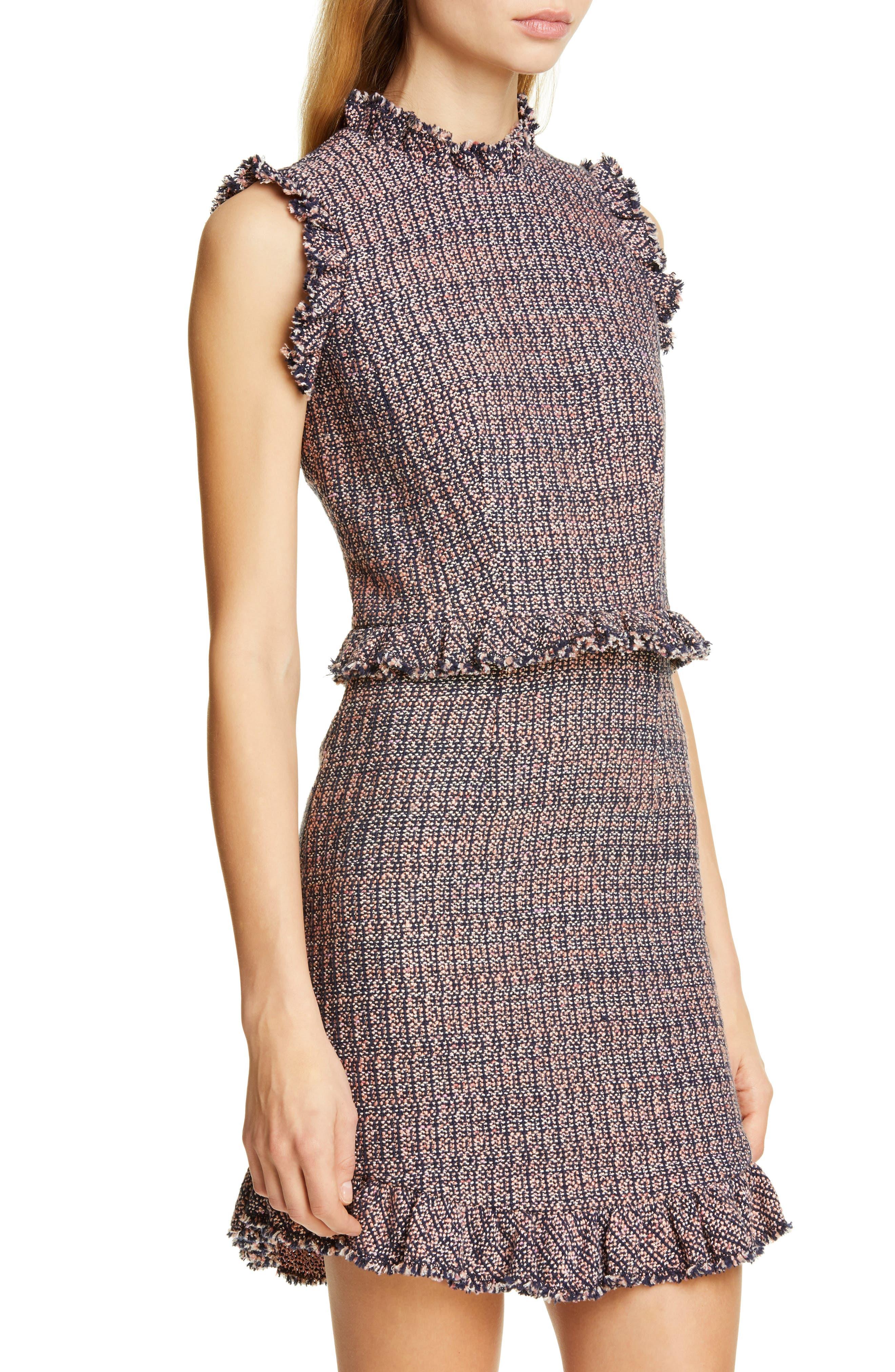 REBECCA TAYLOR, Frayed Ruffle Tweed Dress, Alternate thumbnail 5, color, PINK/ NAVY COMBO