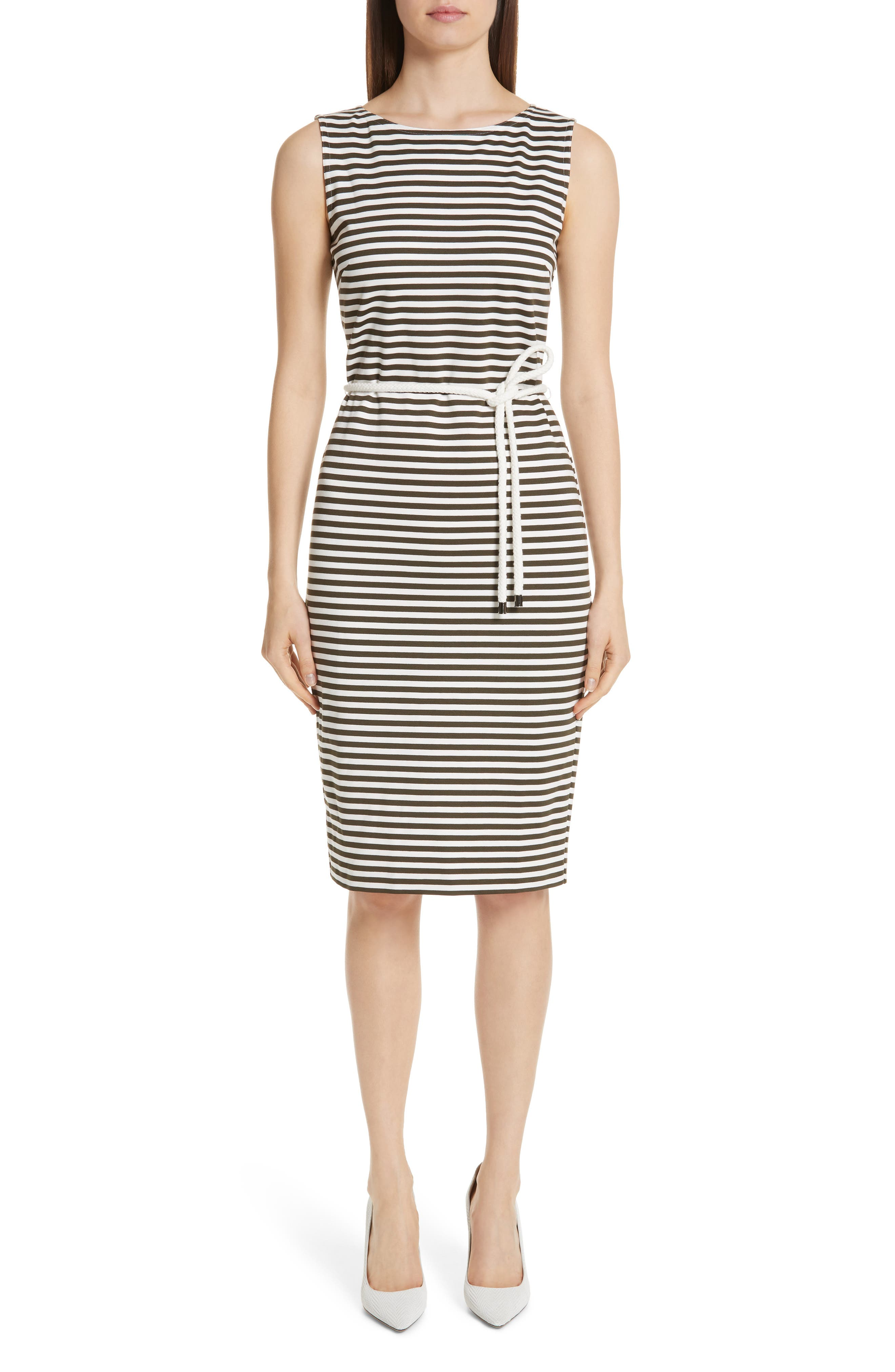 MAX MARA, Comica Stripe Dress, Main thumbnail 1, color, KAKI