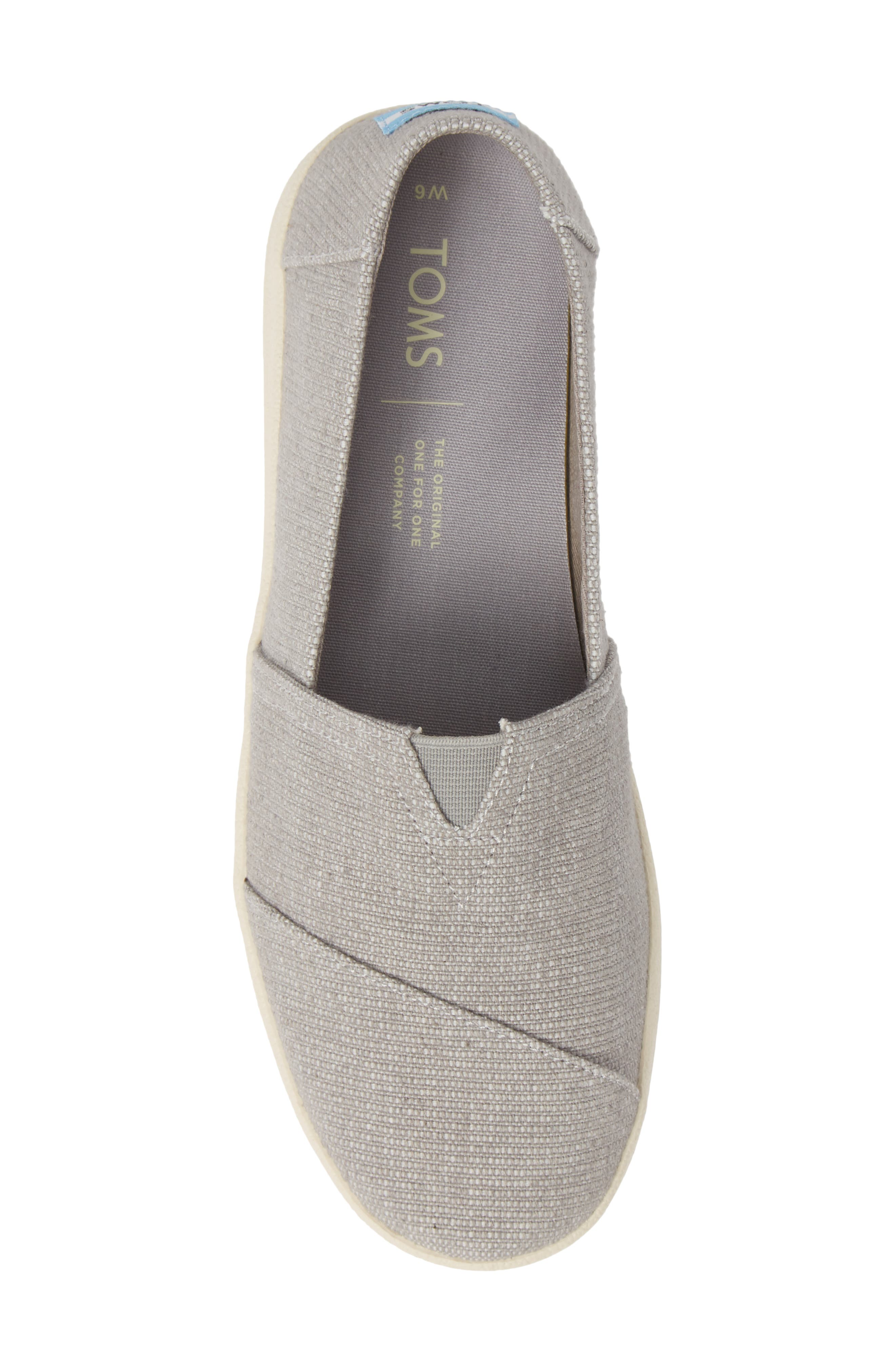 TOMS, Avalon Slip-On Sneaker, Alternate thumbnail 5, color, DRIZZLE GREY CANVAS