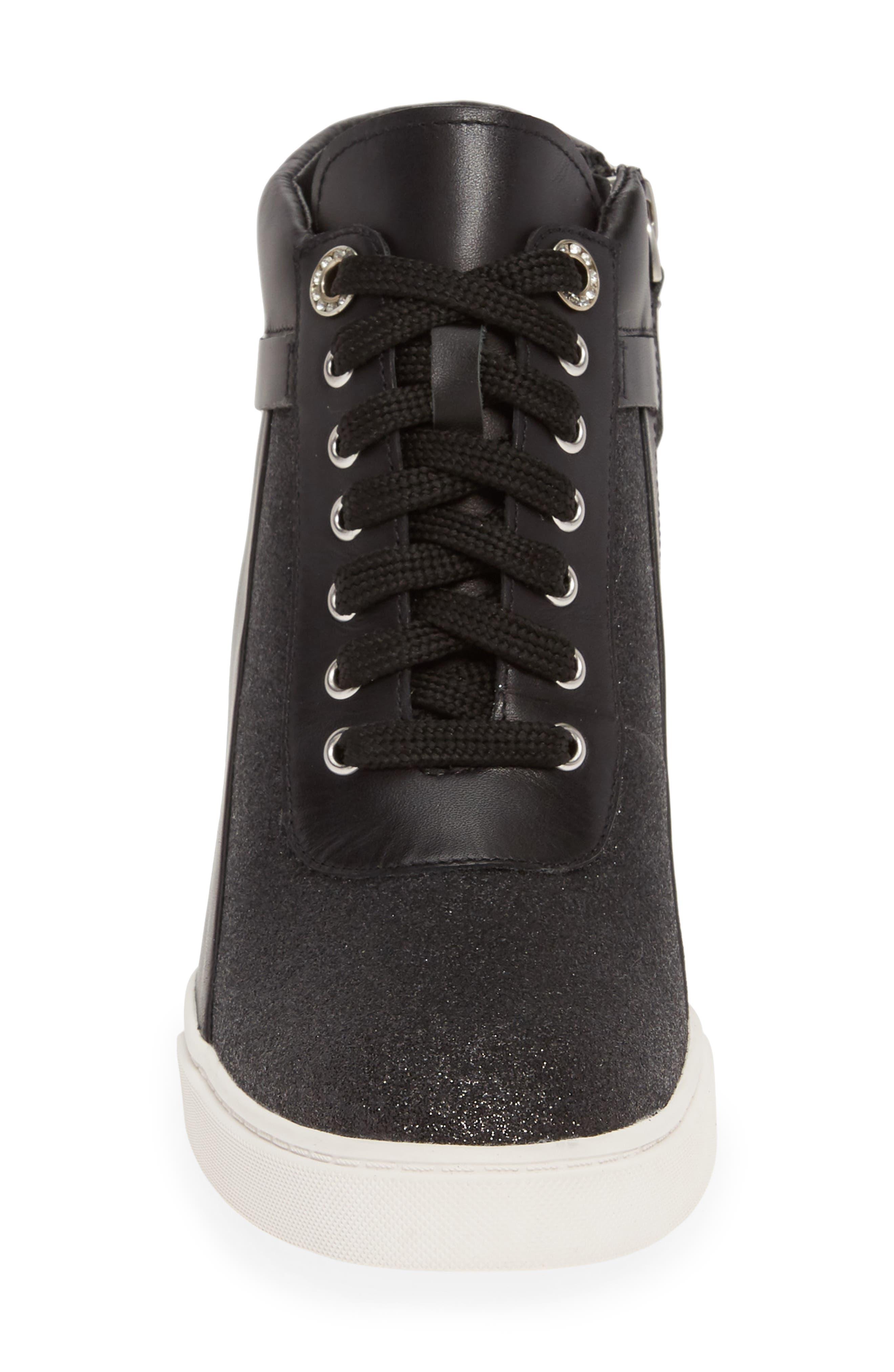 LINEA PAOLO, Freja Wedge Sneaker, Alternate thumbnail 4, color, BLACK GLISTEN LEATHER