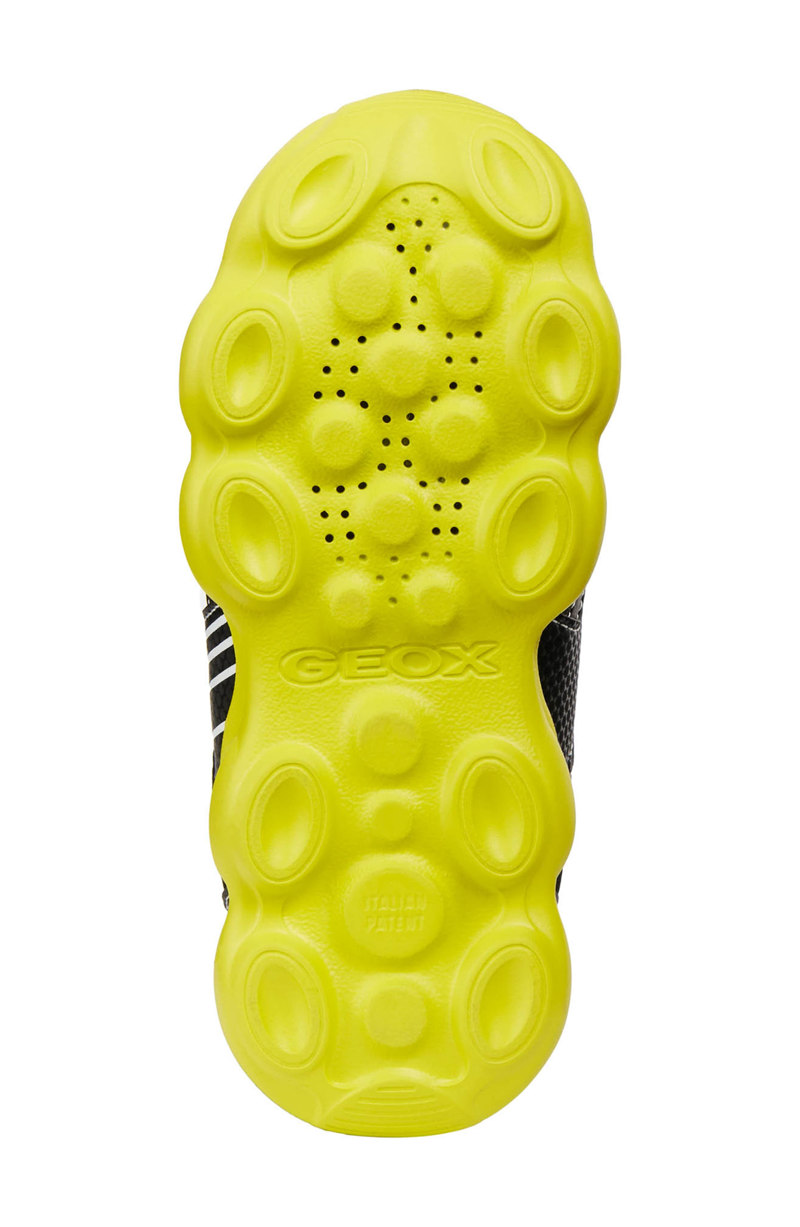 GEOX, Munfrey Waterproof Sneaker, Alternate thumbnail 6, color, BLACK/ LIME