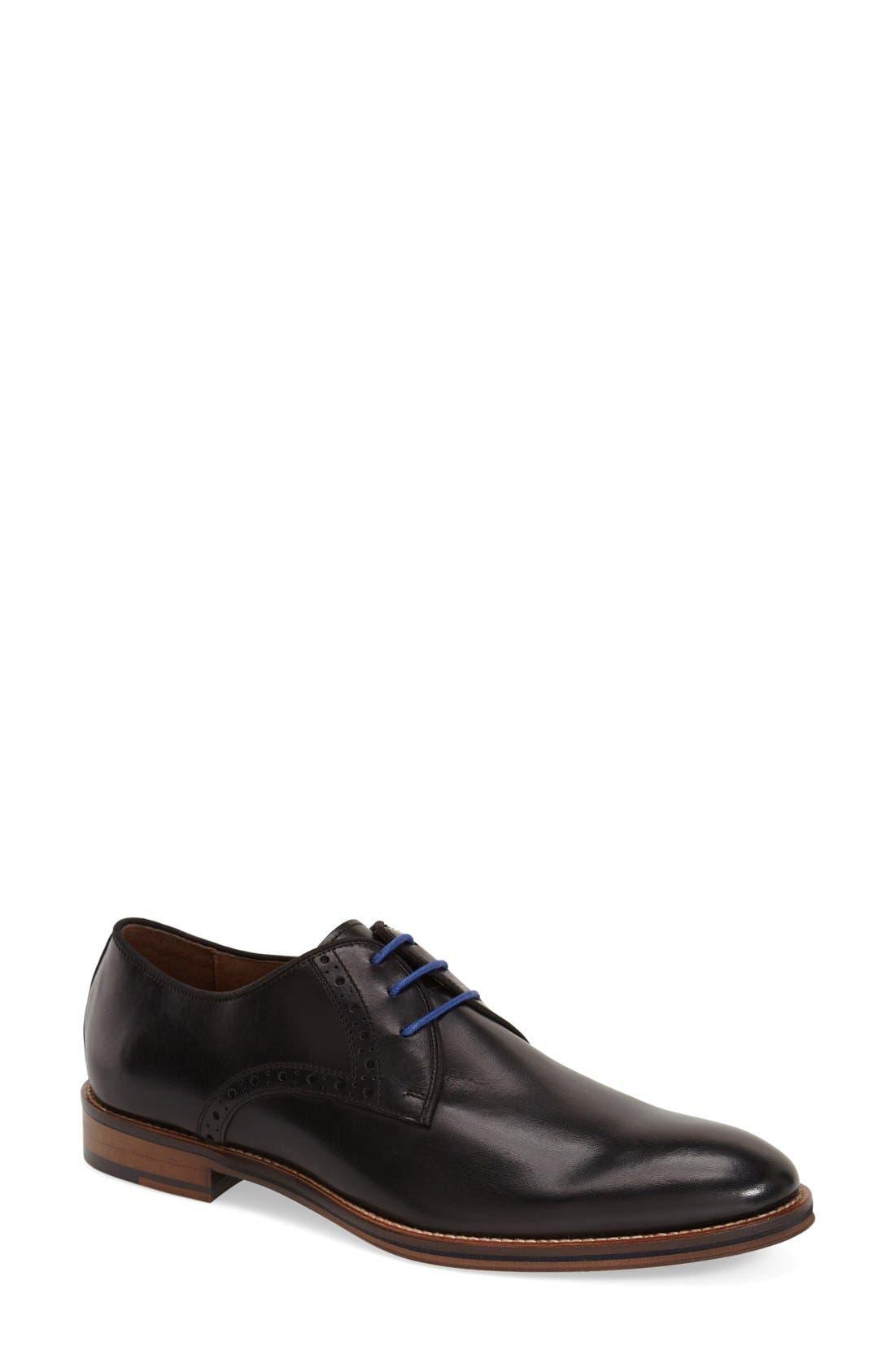 JOHNSTON & MURPHY Conard Plain Toe Derby, Main, color, BLACK