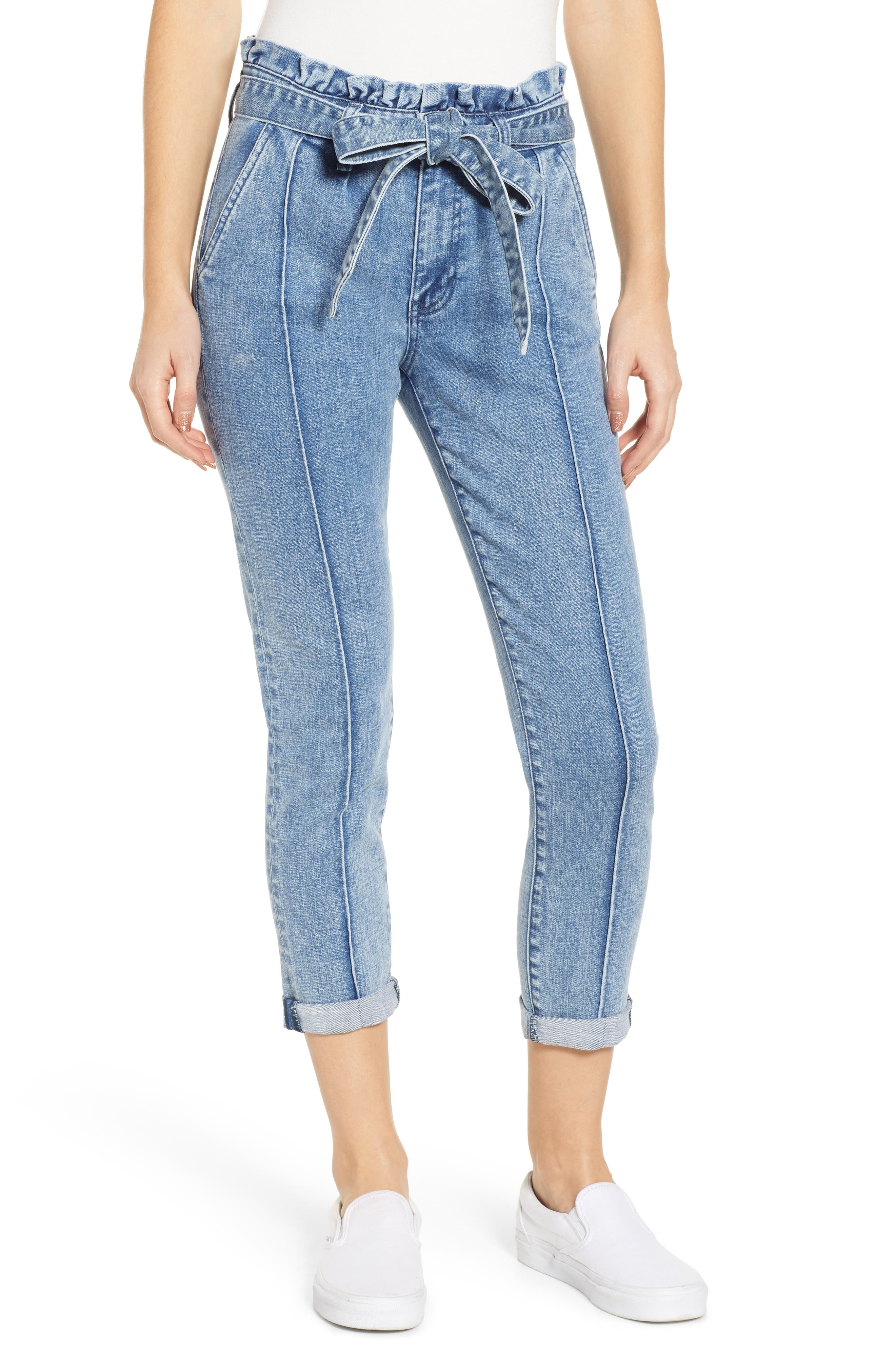 PROSPERITY DENIM, Paperbag Waist Crop Skinny Jeans, Main thumbnail 1, color, MEDIUM LIGHT WASH