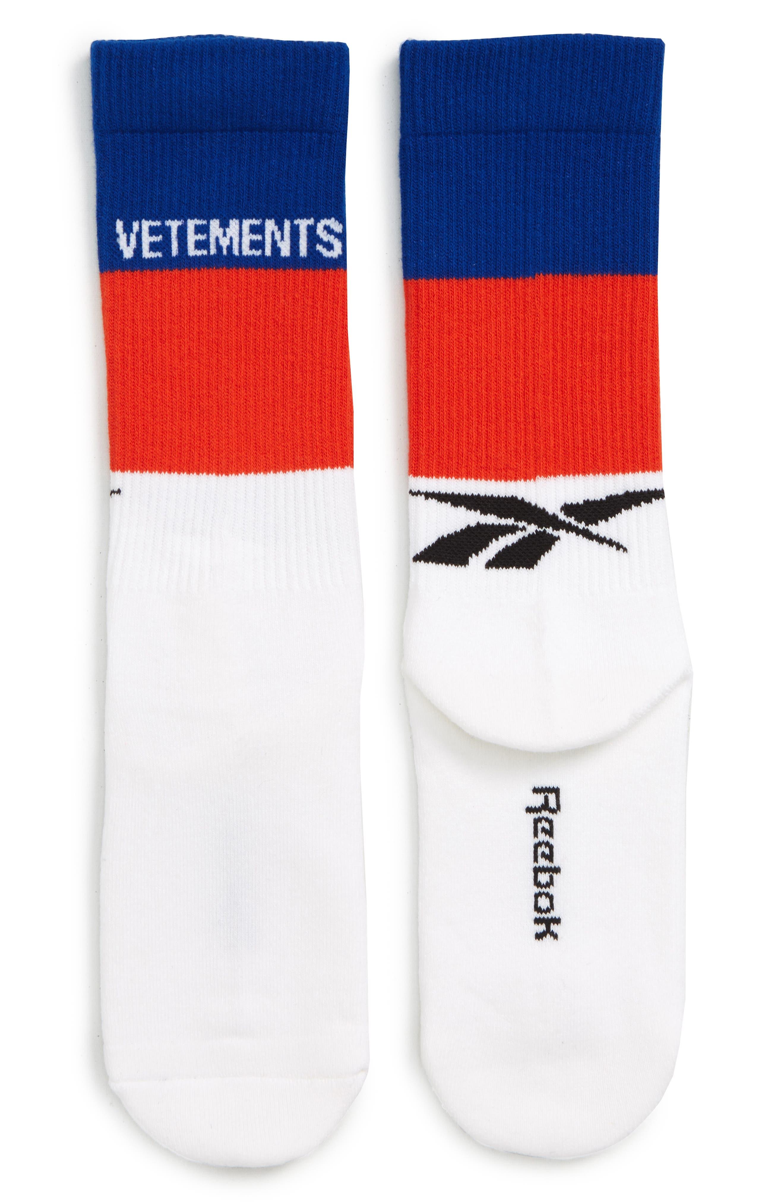 VETEMENTS, Stripe Socks, Main thumbnail 1, color, BLUE/ WHITE/ RED
