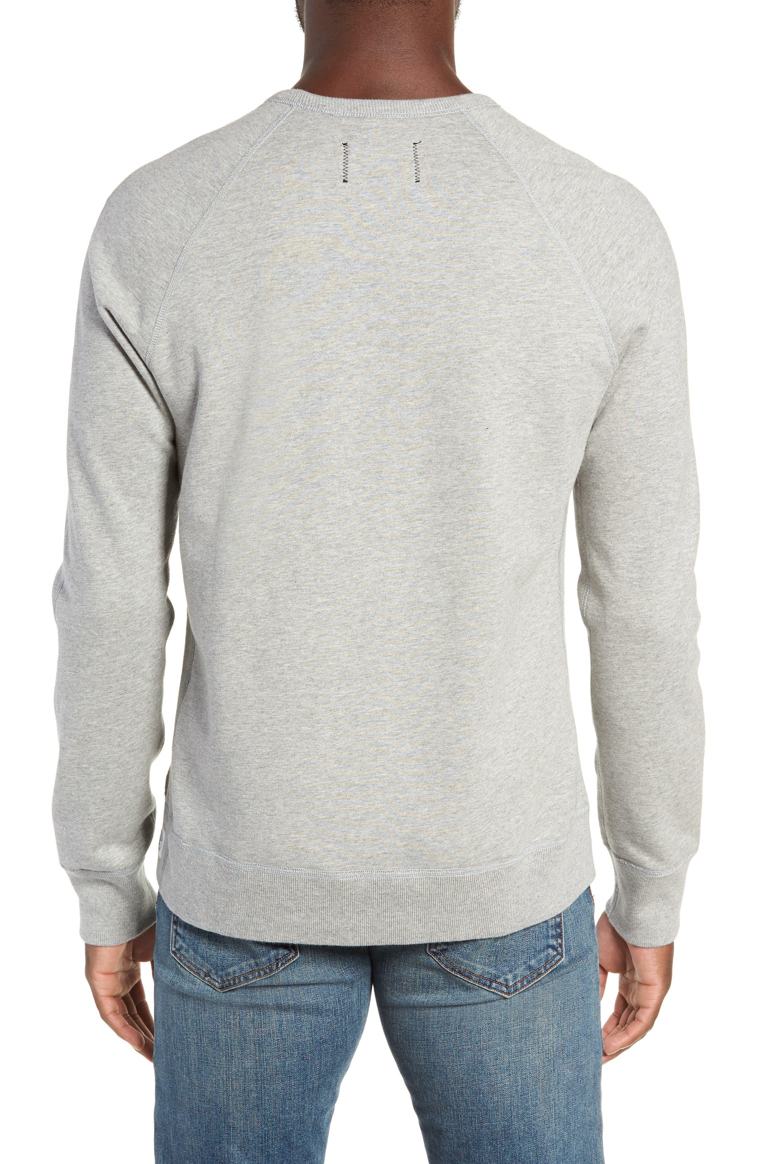 REIGNING CHAMP, Gym Logo Sweatshirt, Alternate thumbnail 2, color, HEATHER GREY/ BLACK