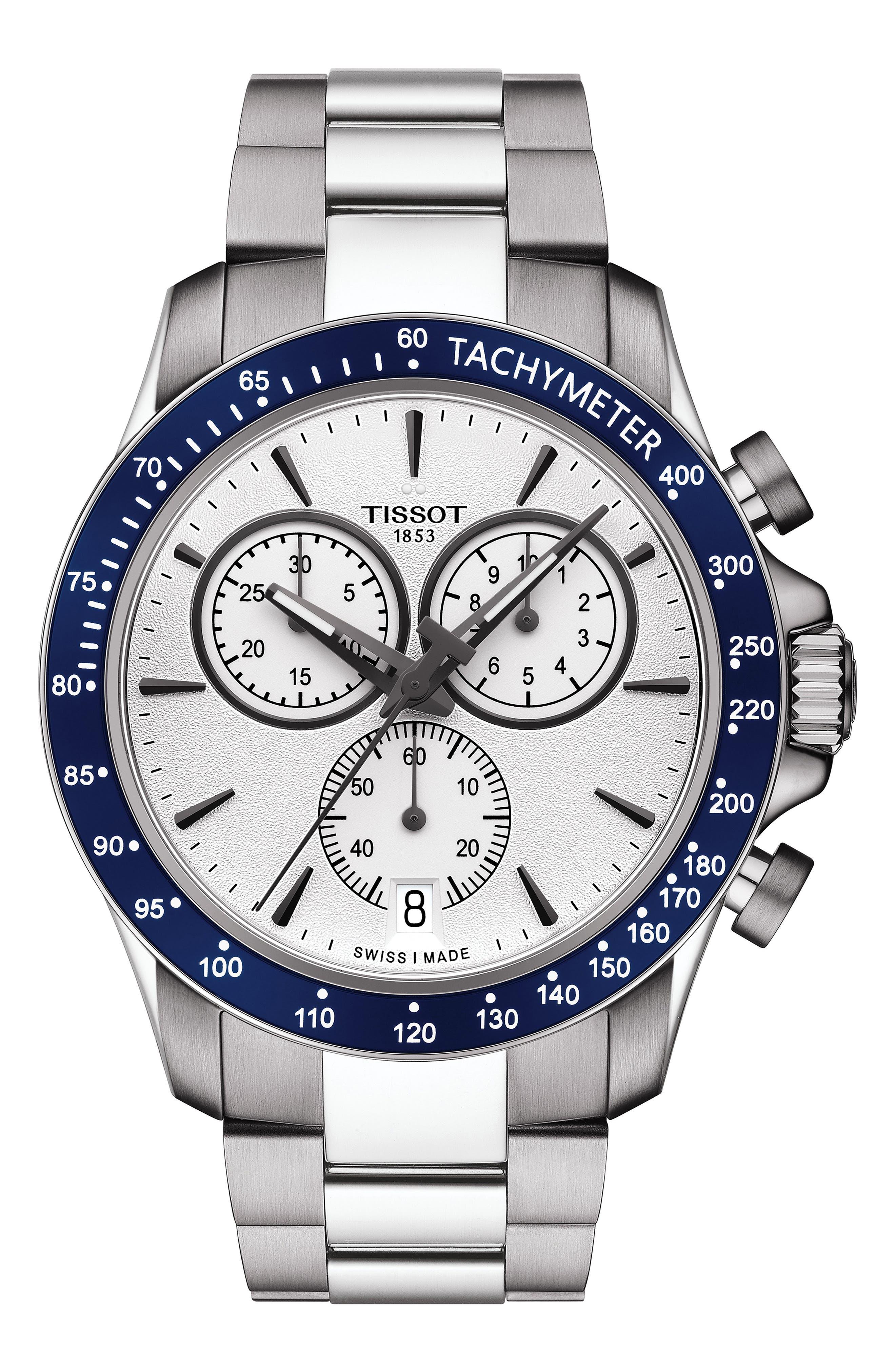 TISSOT V8 Quartz Chronograph Bracelet Watch, 42.5mm, Main, color, 040