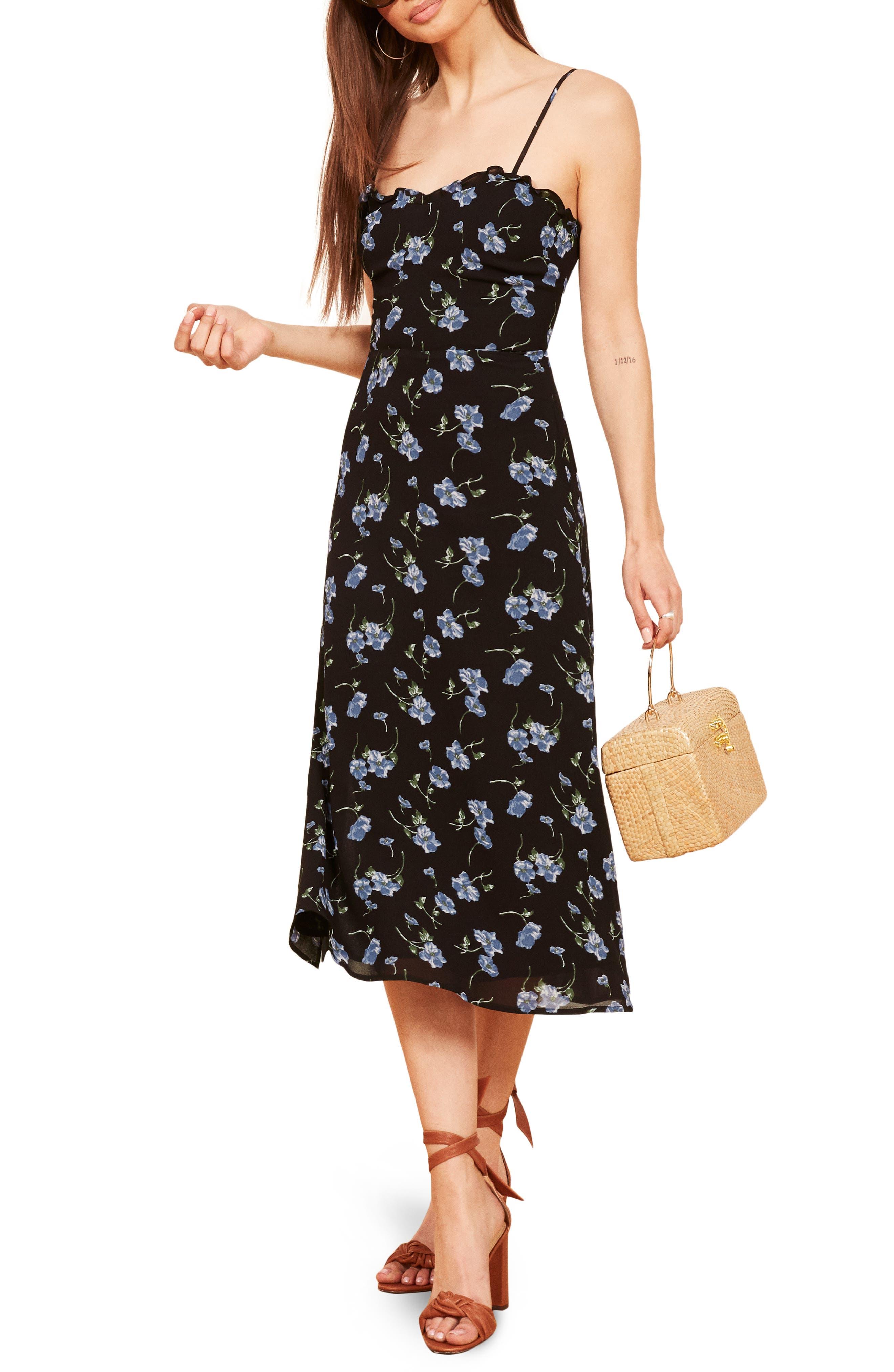 REFORMATION Cassandra Floral Dress, Main, color, 001