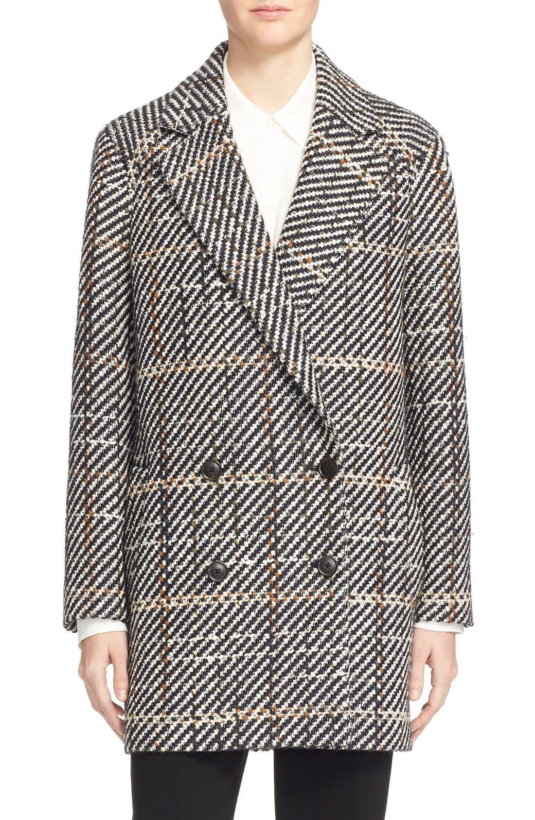 THEORY, Graphic Tweed Coat, Main thumbnail 1, color, 454