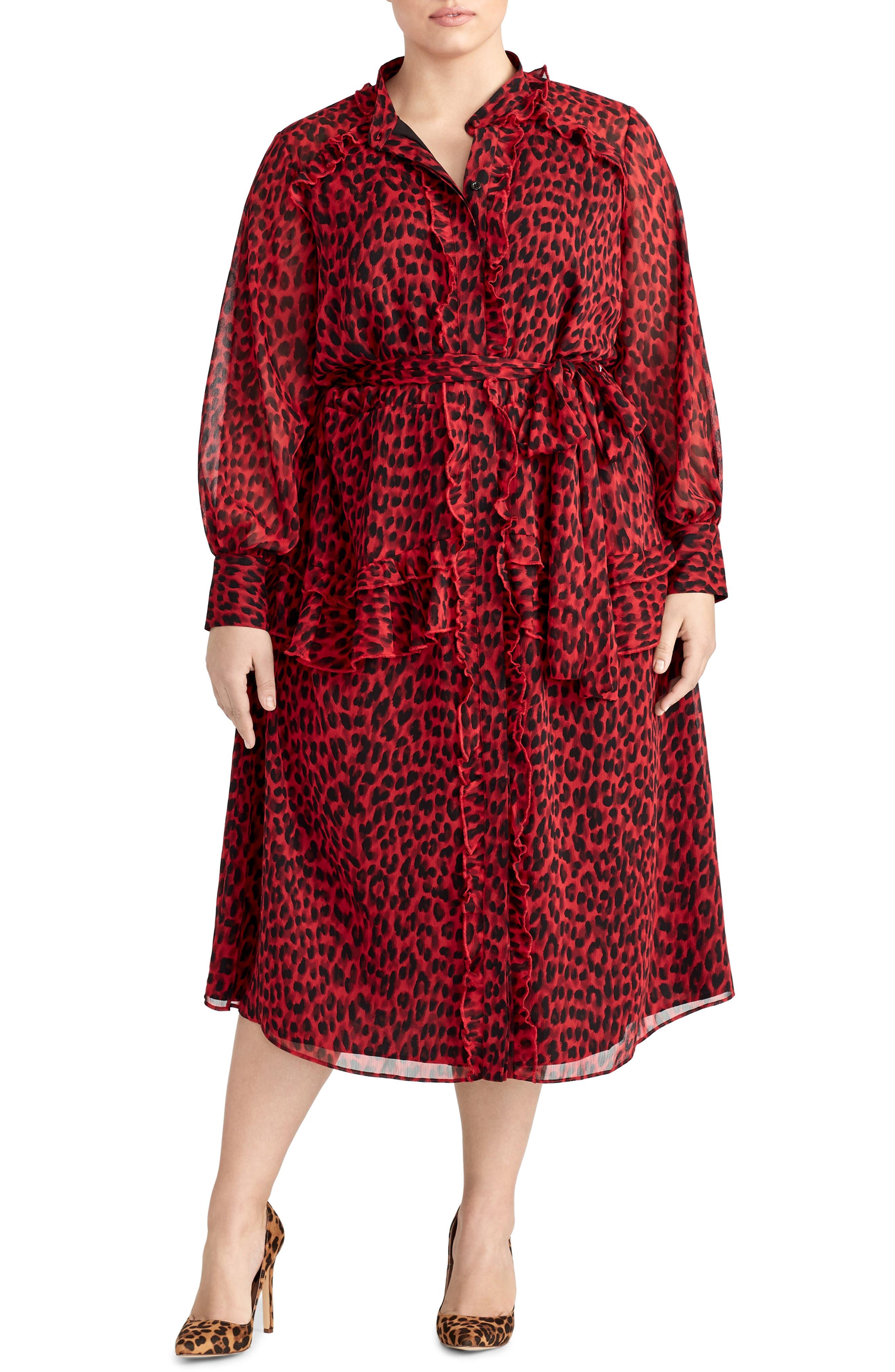 Plus Size Rachel Roy Collection Leopard Ruffle Dress, Red