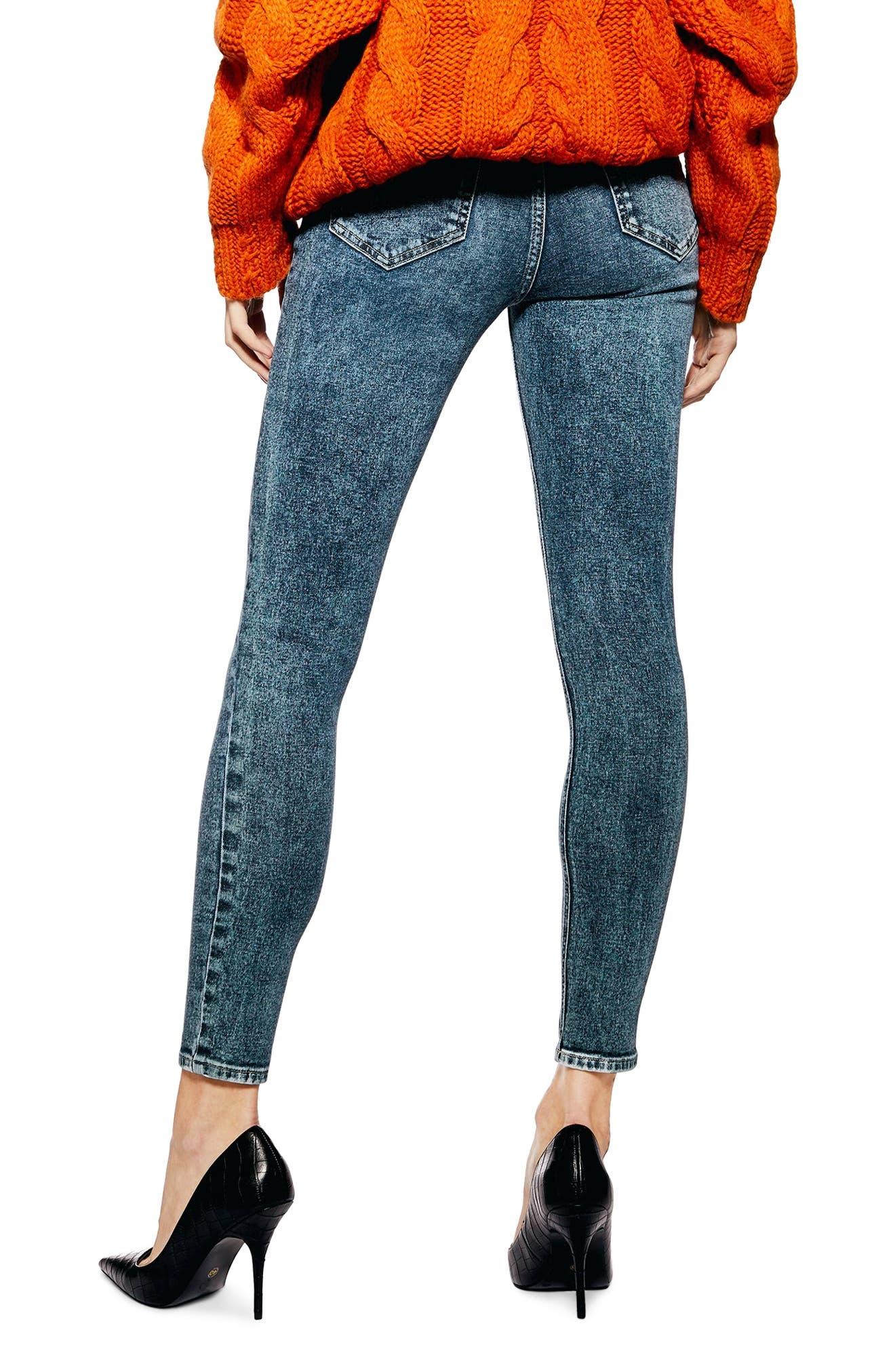 TOPSHOP, Jamie Acid Wash Skinny Jeans, Alternate thumbnail 2, color, INDIGO