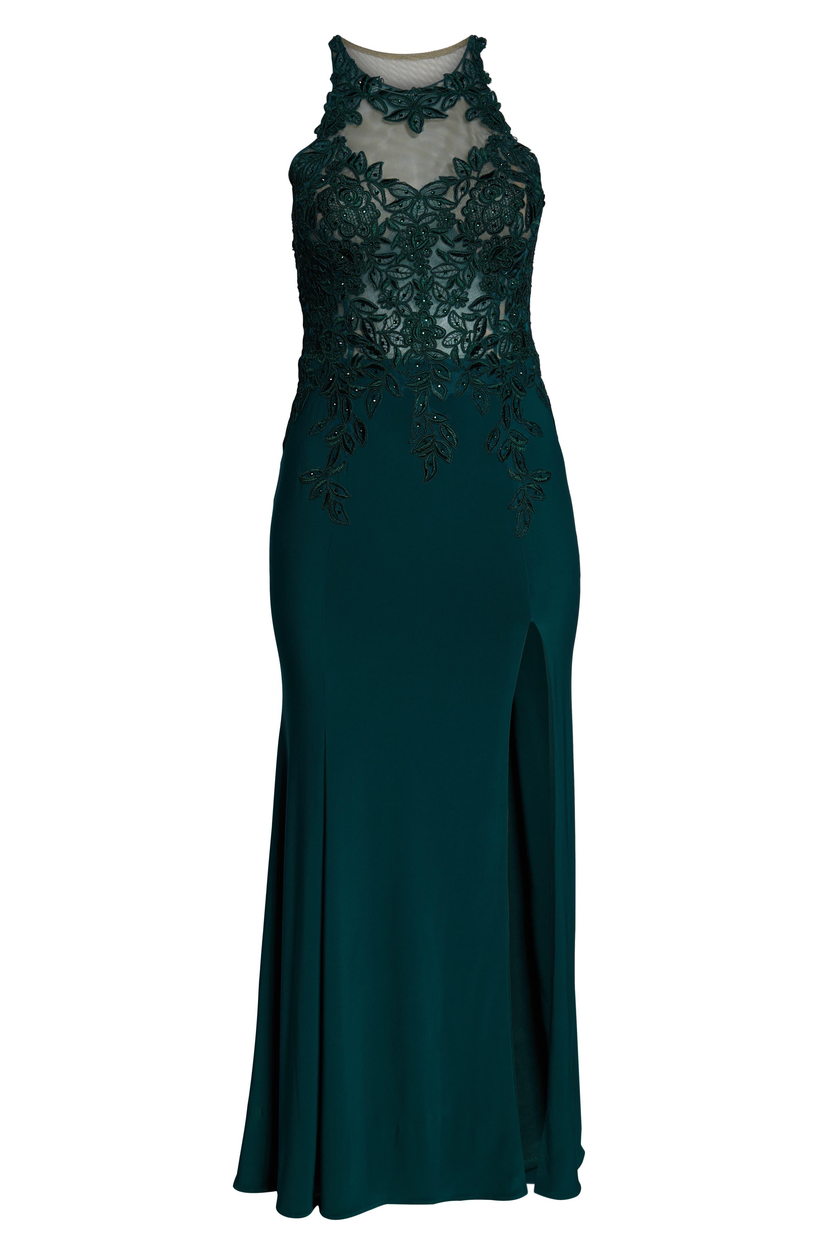 XSCAPE, Embroidered Slit Dress, Alternate thumbnail 7, color, HUNTER