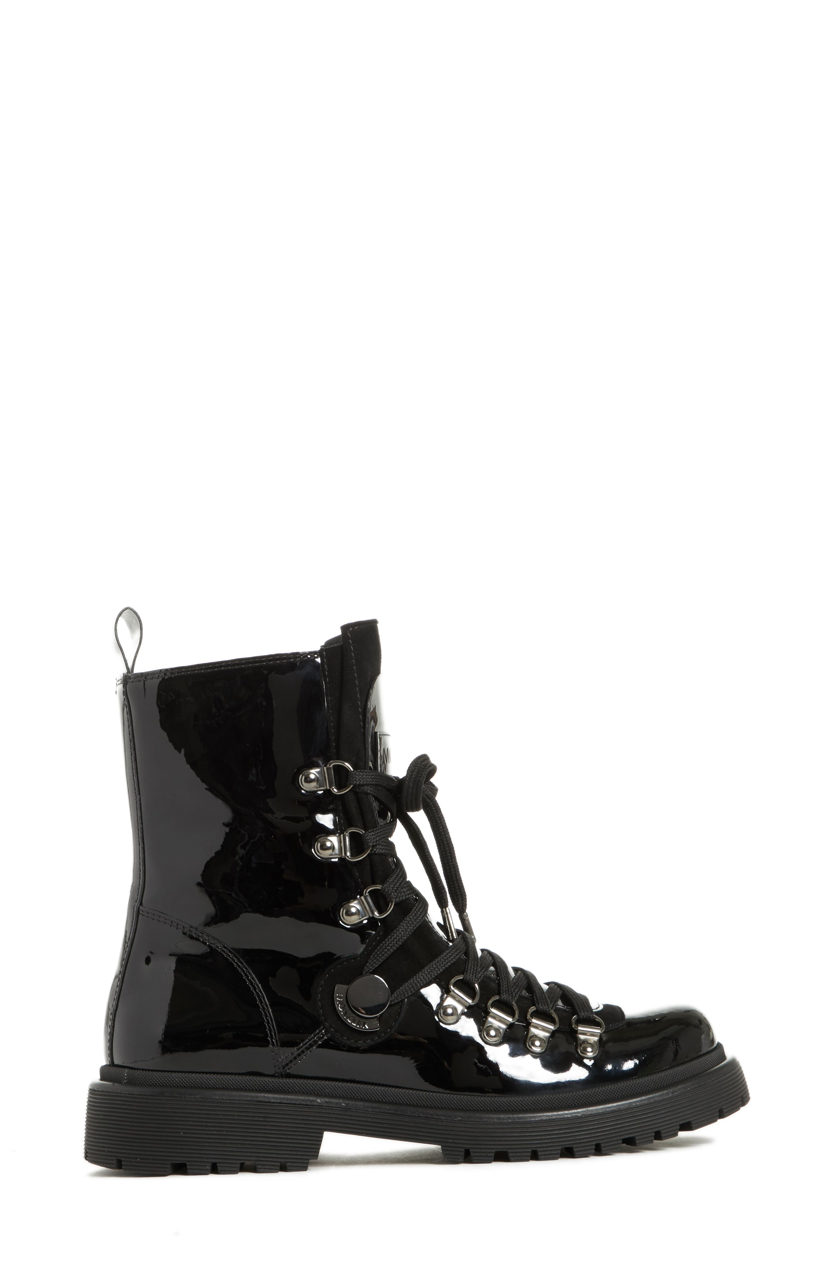 MONCLER, Berenice Stivale Lace-Up Boot, Alternate thumbnail 3, color, BLACK PATENT