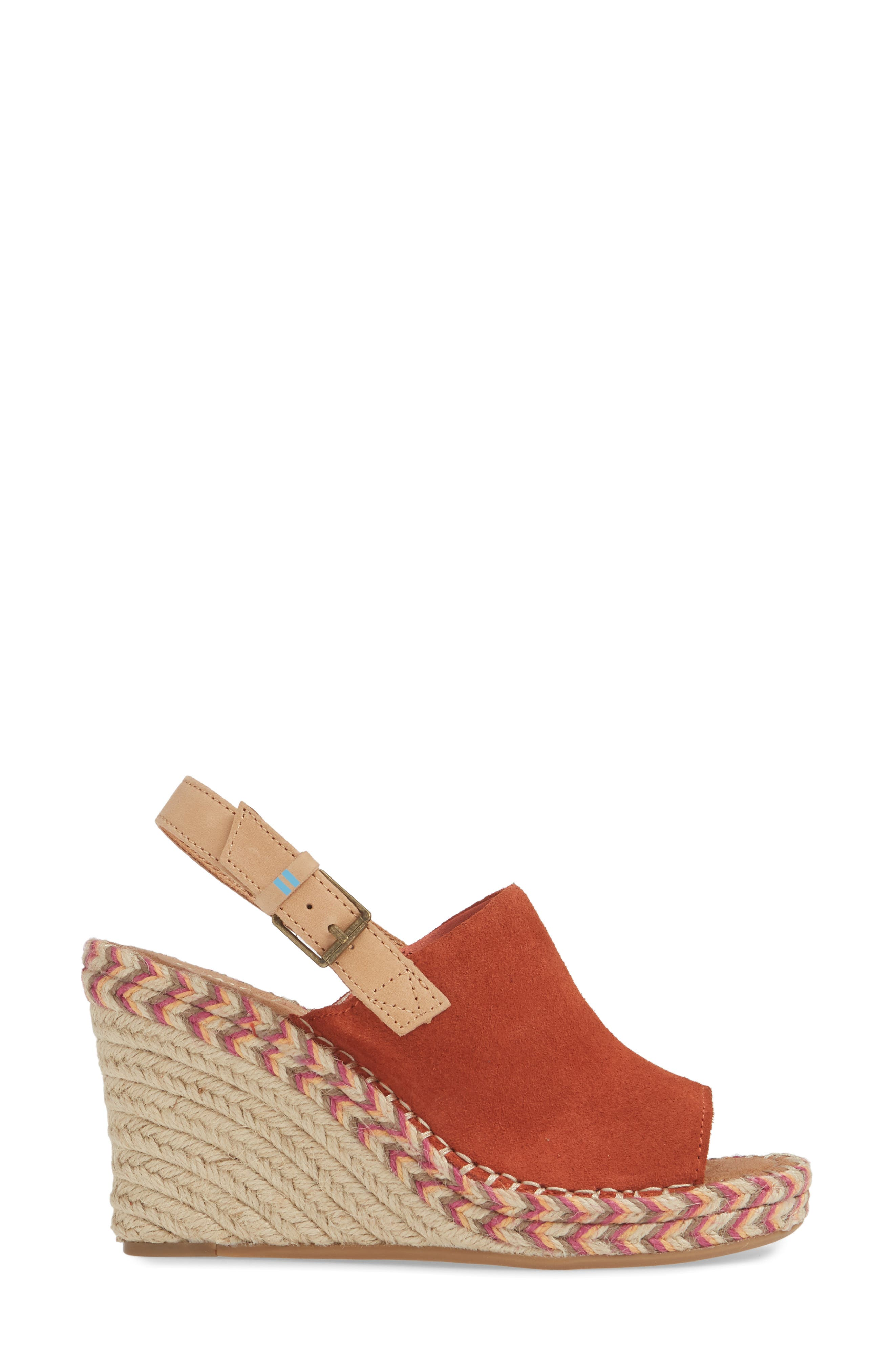 TOMS, Monica Slingback Wedge, Alternate thumbnail 3, color, SPICE SUEDE