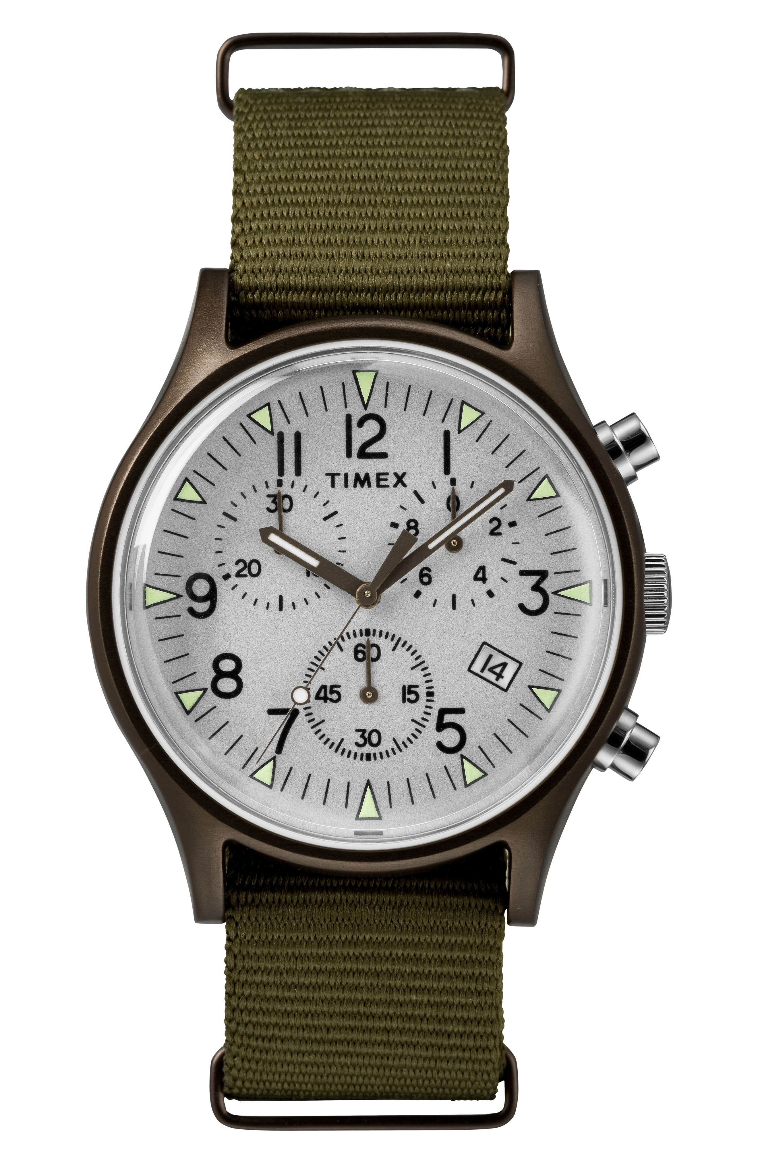 TIMEX<SUP>®</SUP>, MK1 Chronograph Nylon Strap Watch, Main thumbnail 1, color, OLIVE/ SILVER/ GREY