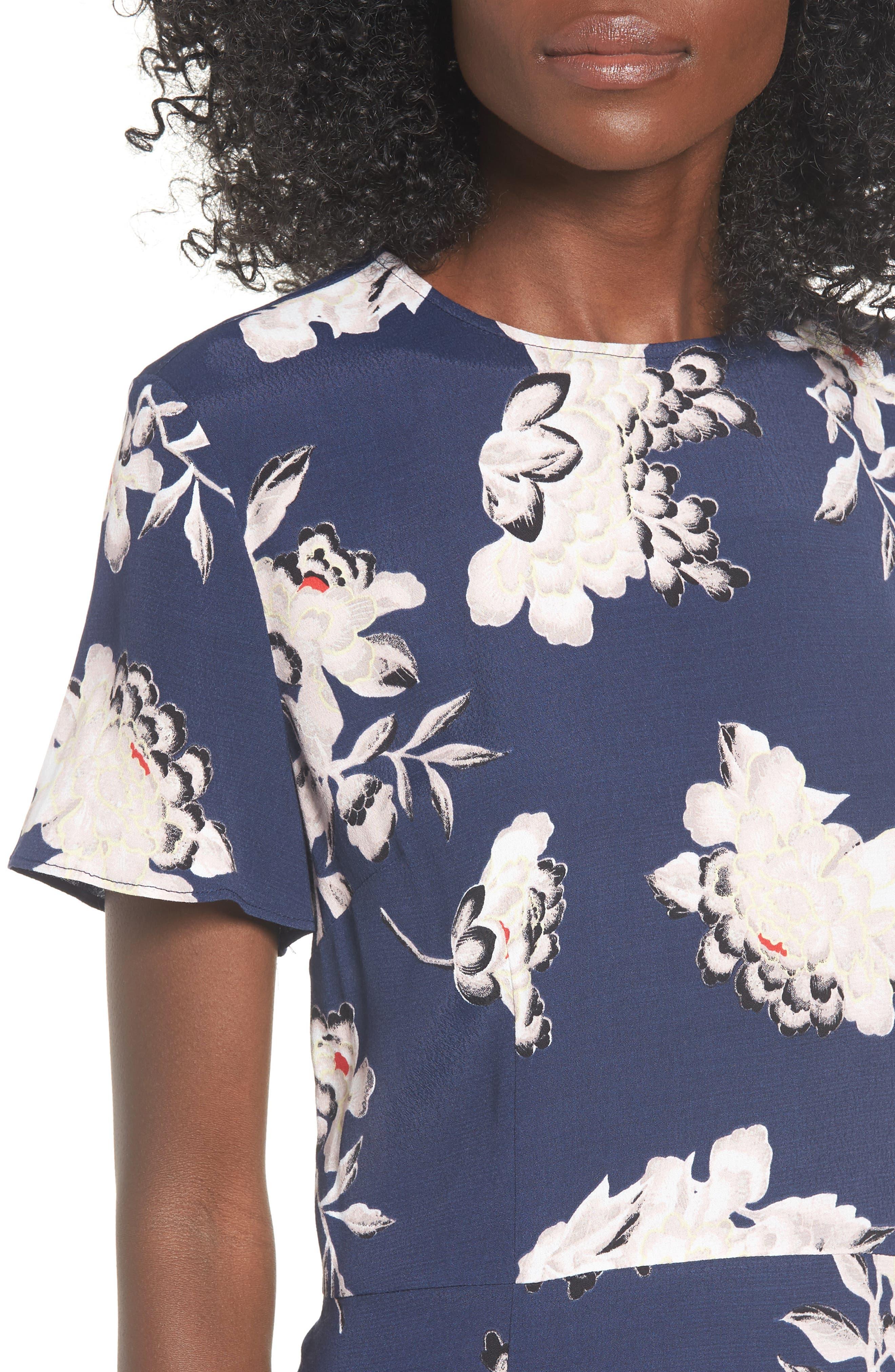 LEITH, Print Midi Dress, Alternate thumbnail 5, color, NAVY PEACOAT KIMONO FLORAL
