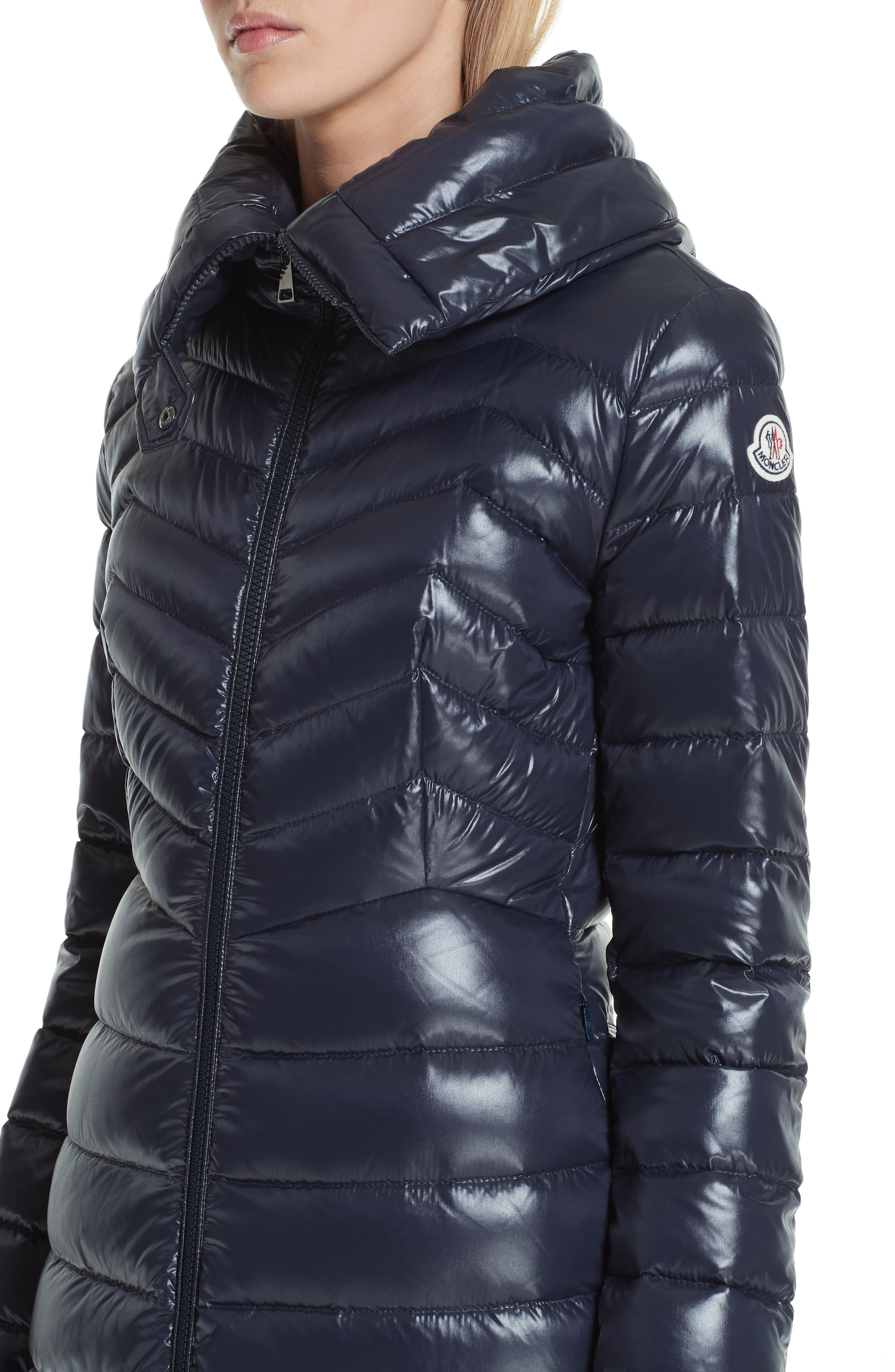 MONCLER, Faucon Quilted Down Coat, Alternate thumbnail 4, color, NAVY