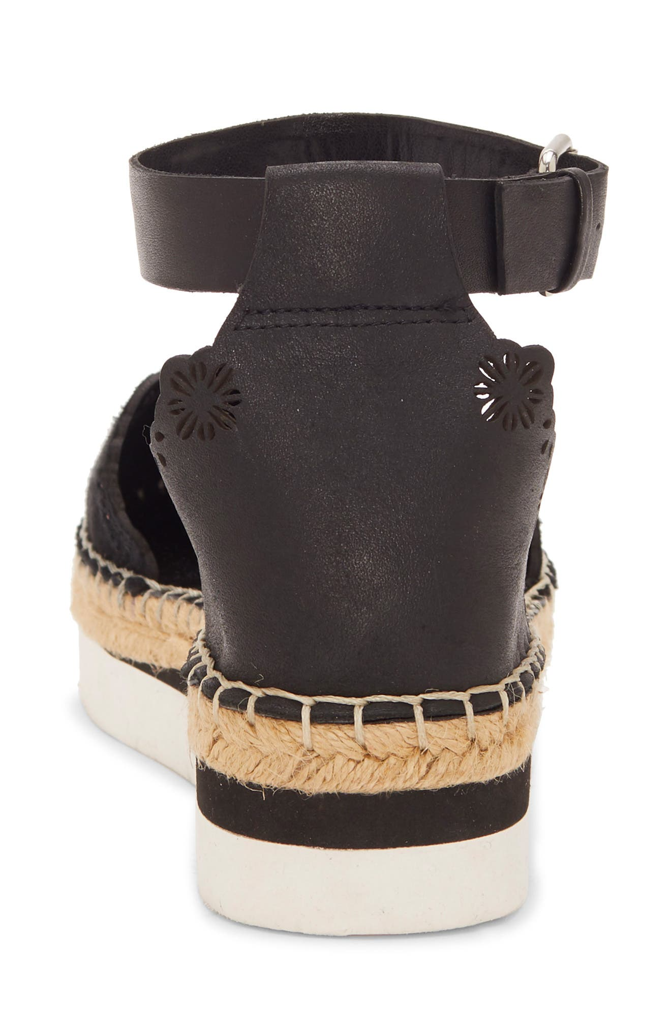VINCE CAMUTO, Breshan Ankle Strap Espadrille Wedge, Alternate thumbnail 7, color, BLACK SUEDE