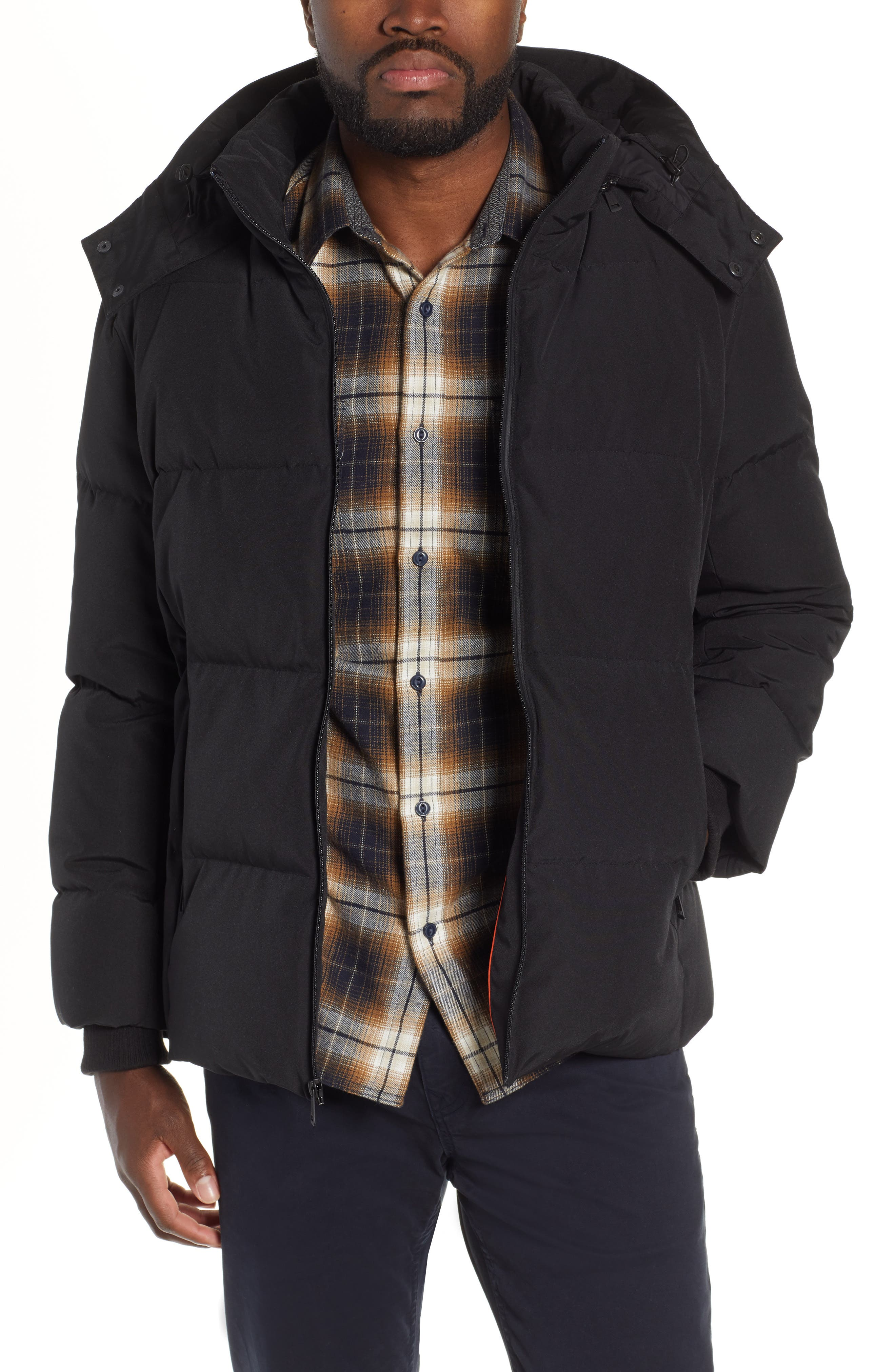 COLE HAAN SIGNATURE, Hooded Puffer Jacket, Main thumbnail 1, color, 001